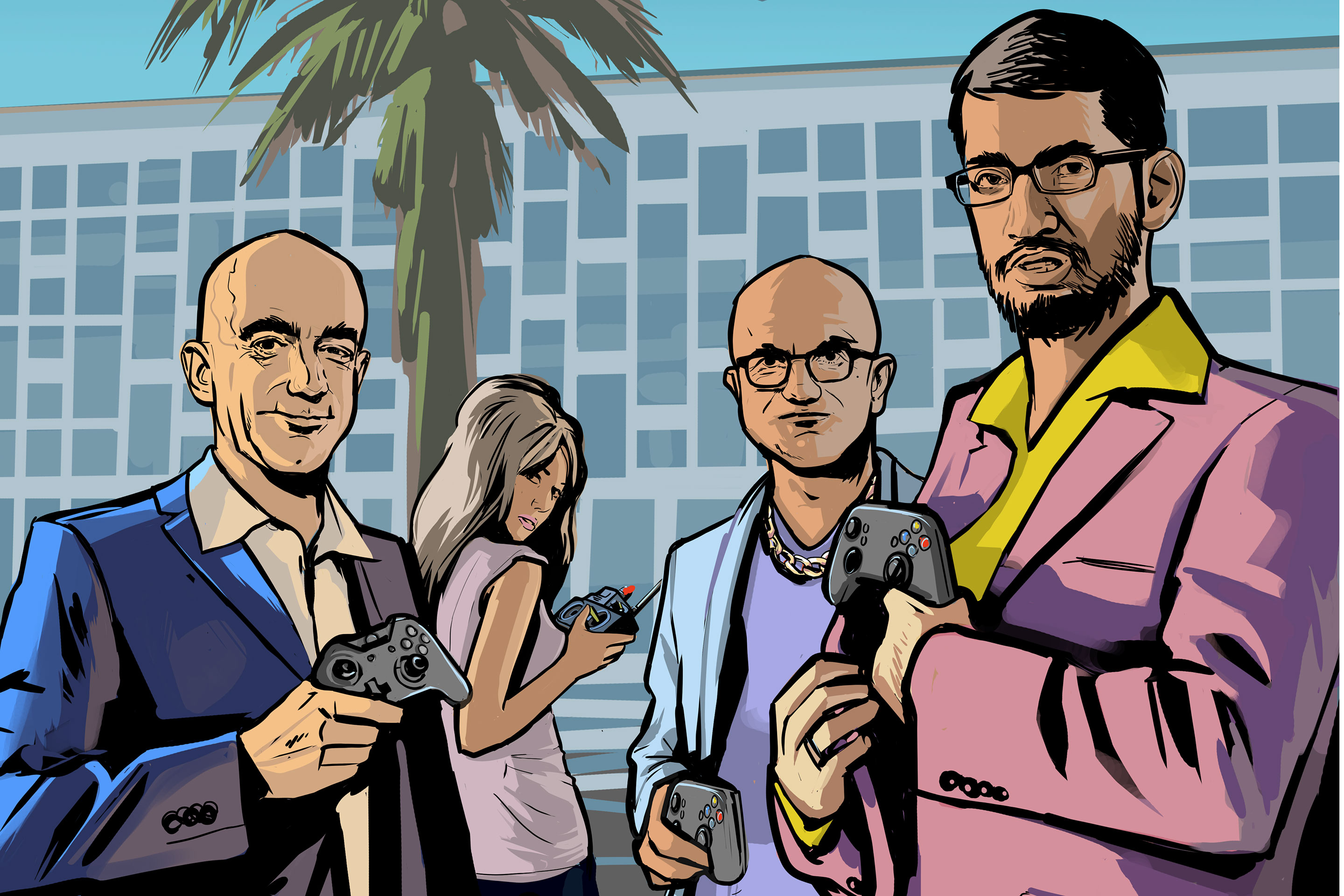 Look familiar? We asked Stephen Bliss, the illustrator for Grand Theft Auto: Vice City and others, to imagine the Big Three cloud CEOs as 1980s urban crime lords. Bitchin'.