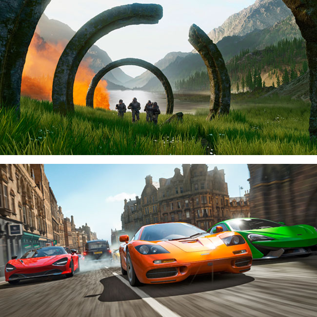 Frames from Halo Infinite, the forthcoming edition of the sci-fi game series, and Forza Horizon 4, a popular car-racing series.