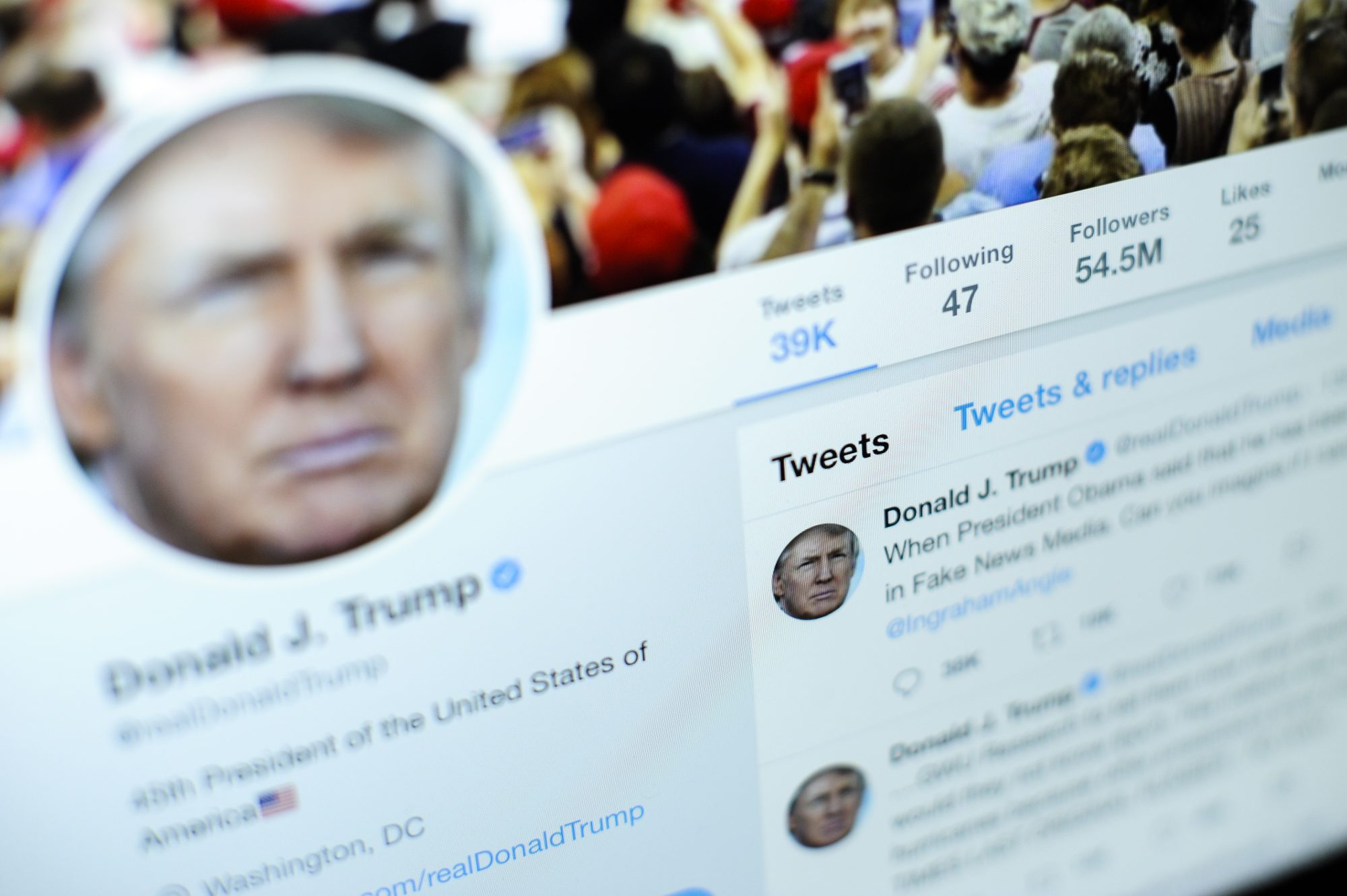 president trump on twitter