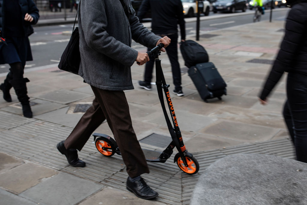 The Department of Transit reminded retailers this week that e-scooters, which have become increasingly popular in the U.K., are illegal on public land