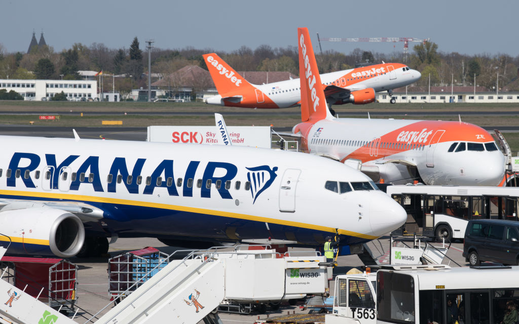 RyanAir and EasyJet plans sit on a tarmac