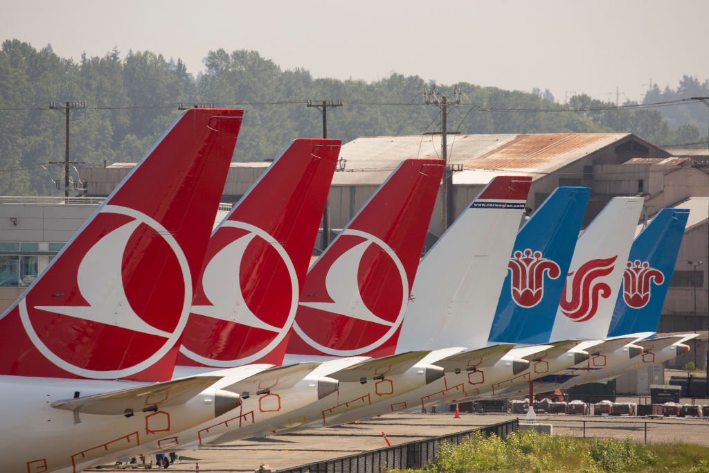 The tails of Boeing 737 MAX airplanes are seen as they sit parked at a Boeing facility adjacent to King County International Airport, known as Boeing Field, on May 31, 2019 in Seattle, Washington.