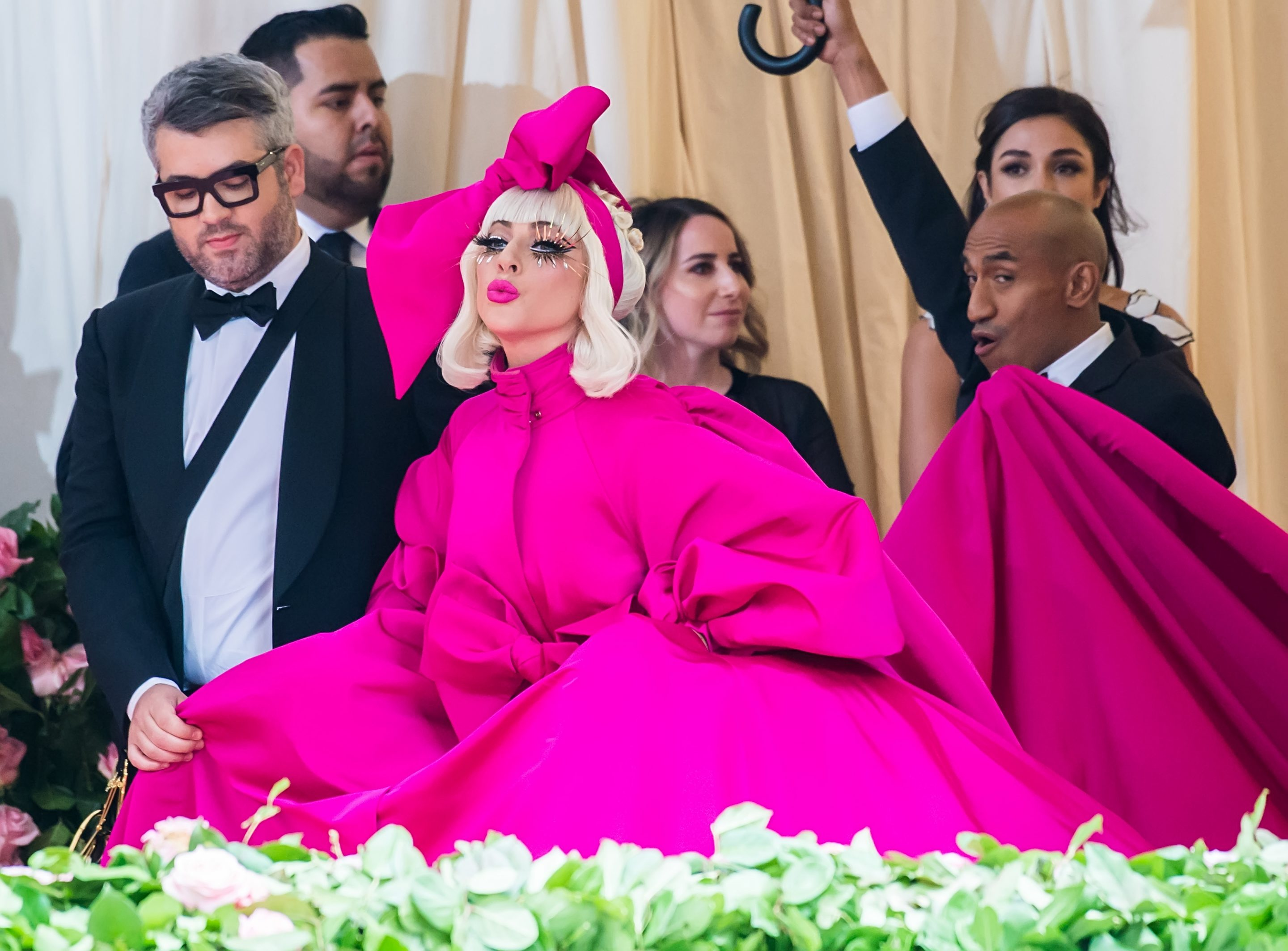 Pre-orders for Lady Gaga's make-up line on Amazon start July 15. The pop singer is pictured with her fashion designer Brandon Maxwell at the May 6, 2019, Metropolitan Museum of Art Costume Institute gala.