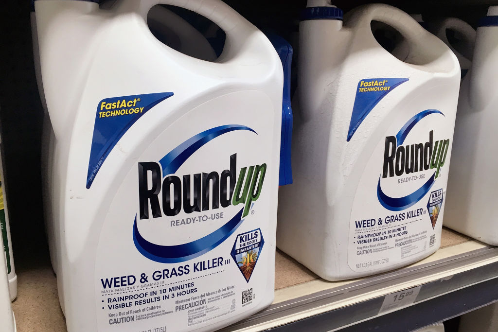 Roundup weed killer on store shelf