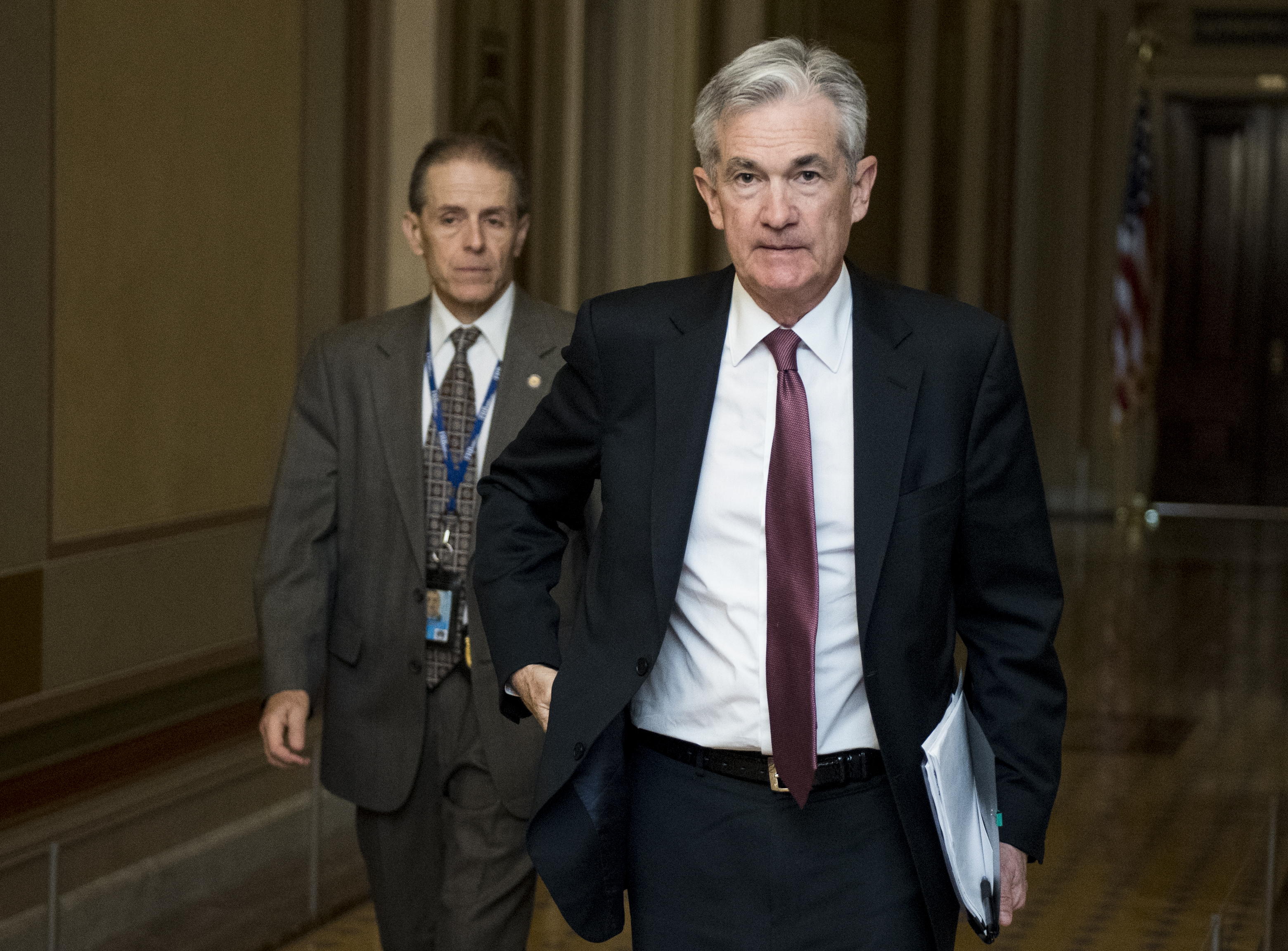 UNITED STATES - JUNE 26: Federal Reserve chairman Jerome Powell leaves the Capitol after meeting with Sen. Jerry Moran, R-Kan., on Wednesday, June 26, 2019. (Photo By Bill Clark/CQ Roll Call)