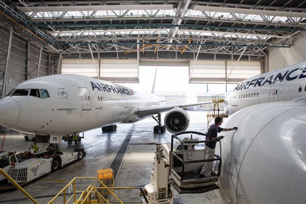 Air France plane in hangar