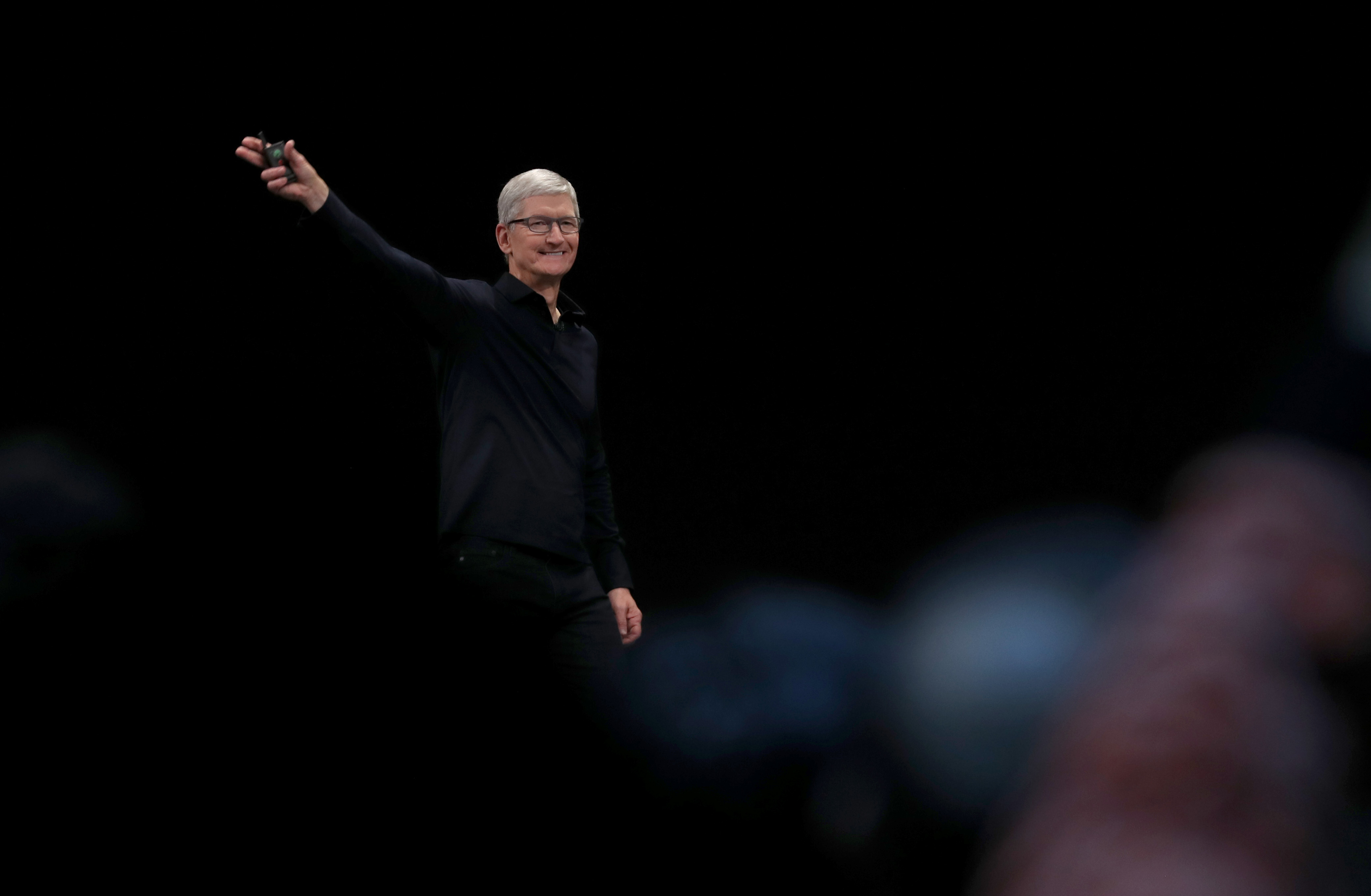 Apple CEO Tim Cook delivers the keynote address during the 2019 Apple Worldwide Developer Conference (WWDC) at the San Jose Convention Center on June 03, 2019 in San Jose, California.