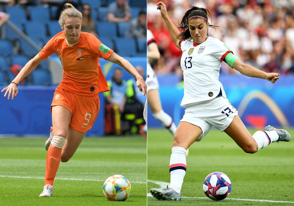 Netherlands' forward Vivianne Miedema (L) during the France 2019 Women's World Cup Group E football match between New Zealand and the Netherlands at the Oceane Stadium in Le Havre on June 11, 2019, and United States' midfielder Alex Morgan during the France 2019 Women's World Cup quarter-final football match between France and USA at the Parc des Princes stadium in Paris on June 28, 2019. The United States will face the Netherlands on July 7, 2019 in the women's World Cup final to be played in Lyon.