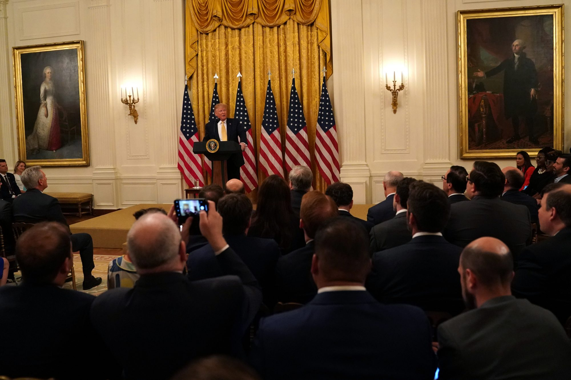 "President Donald Trump speaks during a ""Presidential Social Media Summit"""