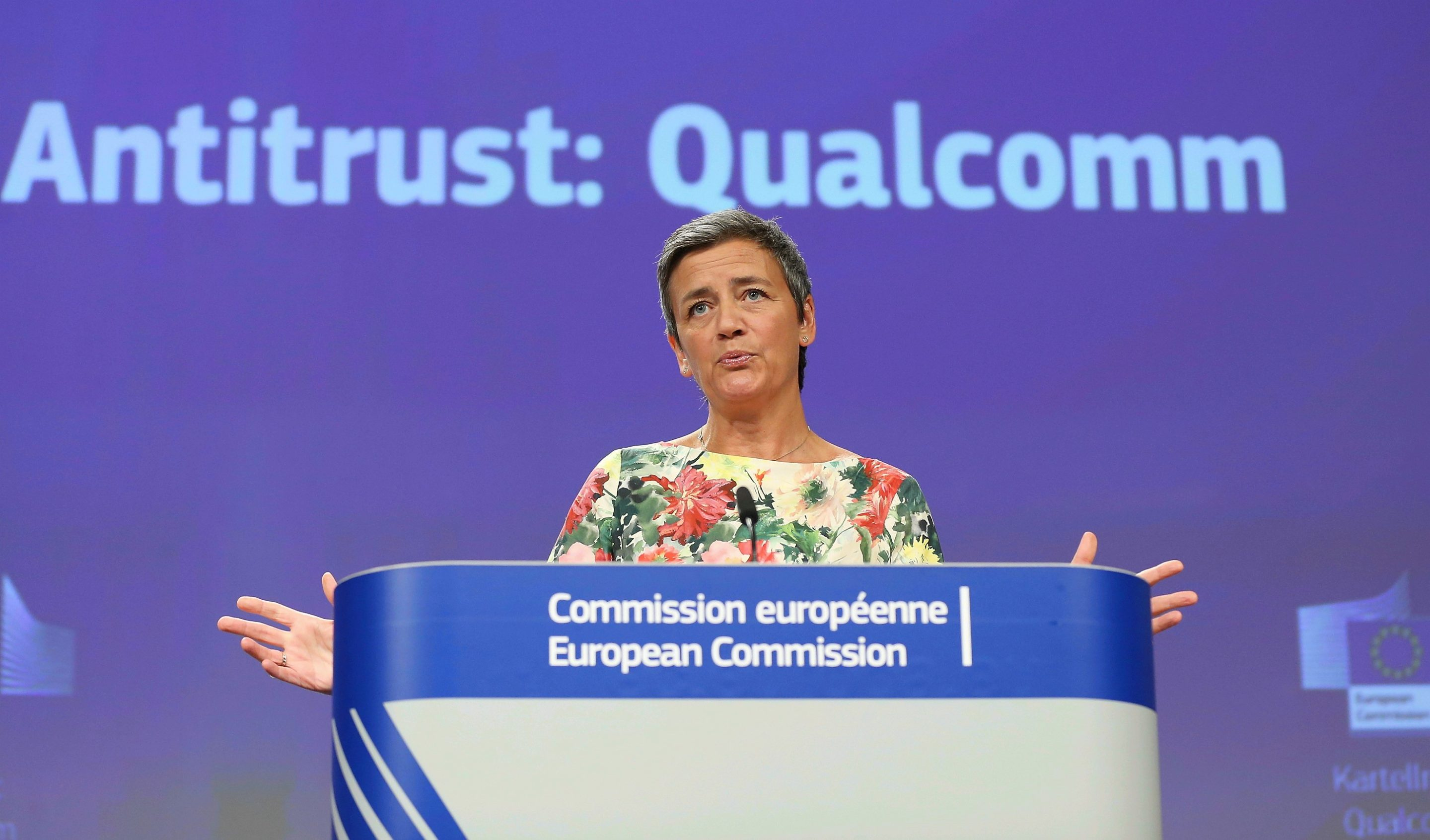 European Commissioner for Competition Margrethe Vestager  announces a $272 million fine for Qualcomm  for deliberately pricing 3G chips low to eliminate a competitor. (Photo by Dursun Aydemir/Anadolu Agency/Getty Images)