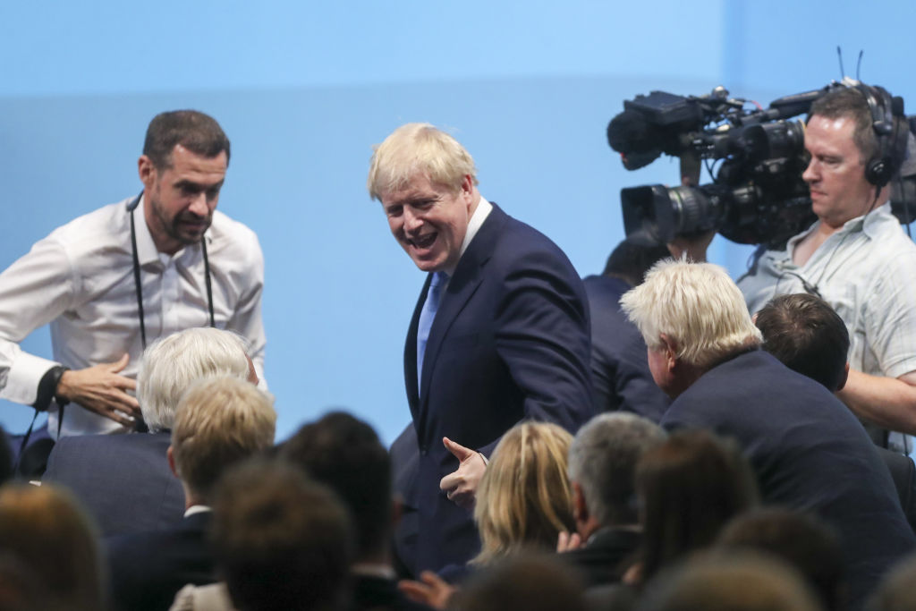 Boris Johnson, leader of the Conservative Party, reacts to the announcement of winner of the Conservative Party leadership contest at the Queen Elizabeth II Conference Centre in London, U.K., on Tuesday, July 23, 2019.