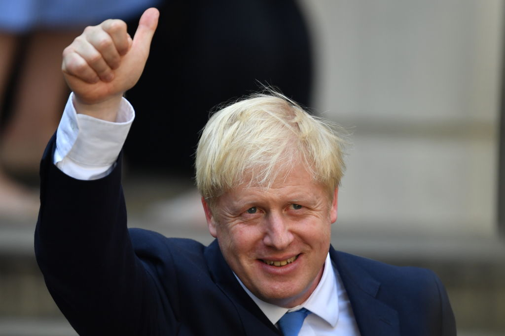 Newly elected leader of the Conservative party Boris Johnson at Conservative party HQ in Westminster on July 23, 2019 in London, England, after becoming leader of the Conservative party and the U.K.'s new prime minister.