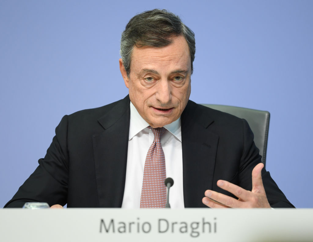 Mario Draghi, President of the European Central Bank (ECB), at the ECB headquarters. The ECB held off on loosening monetary policy on Thursday.