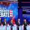 Democratic presidential candidates (L-R) Marianne Williamson, former Colorado governor John Hickenlooper, former tech executive Andrew Yang, South Bend, Indiana Mayor Pete Buttigieg, former Vice President Joe Biden, Sen. Bernie Sanders (I-VT), and Sen. Kamala Harris (D-CA) take part in the second night of the first Democratic presidential debate on June 27, 2019 in Miami, Florida.