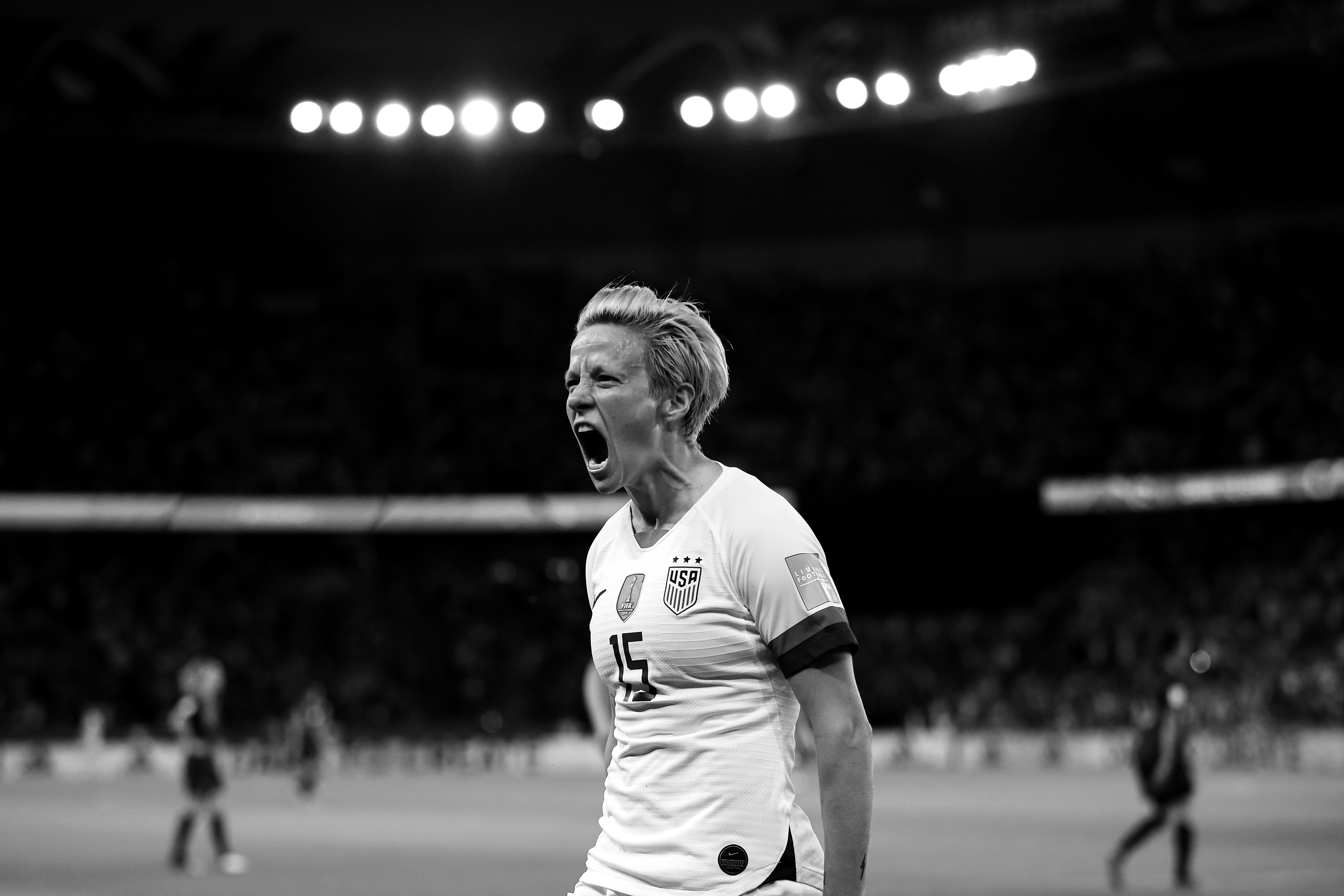 Megan Rapinoe of the USA celebrates after scoring her team's second goal during the 2019 FIFA Women's World Cup France Quarter Final match between France and USA. (Photo by Richard Heathcote/Getty Images)