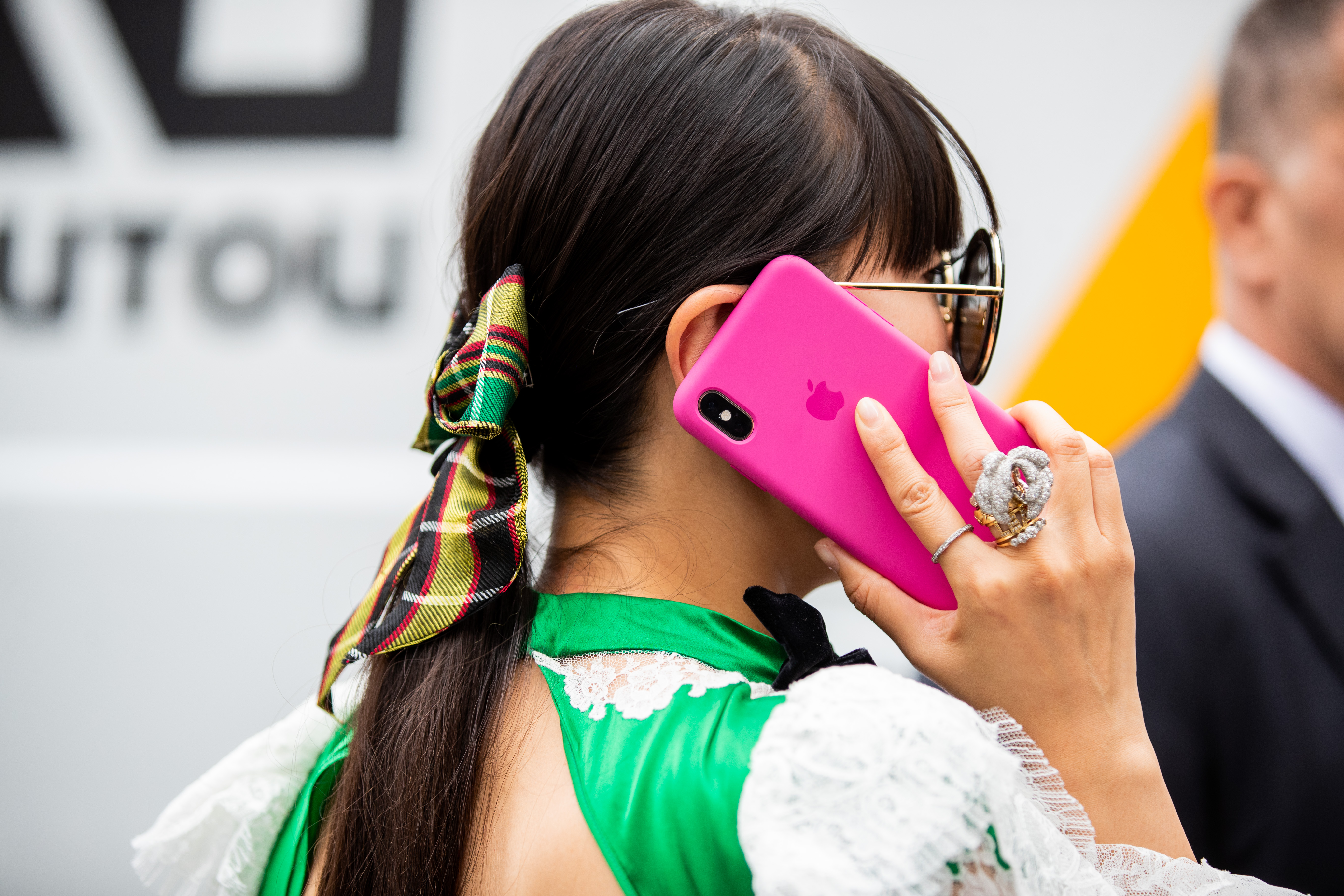PARIS, FRANCE - JULY 01: Leaf Greener is seen with pink iphone wearing bow tie outside Schiaparelli during Paris Fashion Week - Haute Couture Fall/Winter 2019/2020 on July 01, 2019 in Paris, France. (Photo by )