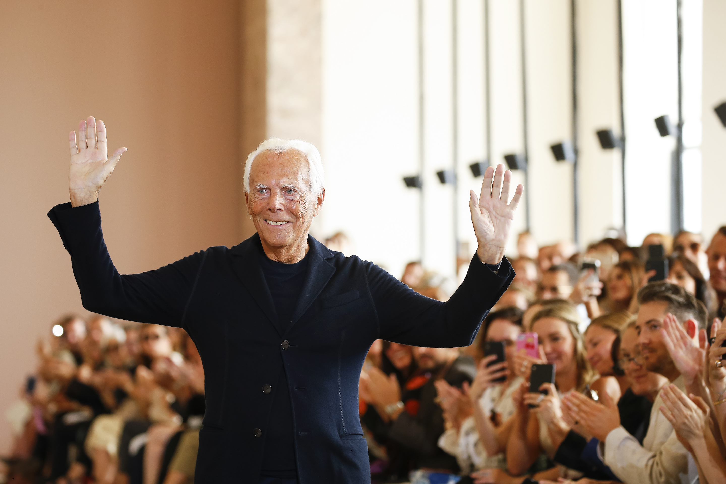 Italian designer Giorgio Armani earlier this month after his Giorgio Armani Prive fashion show during Paris fashion week for fall/winter 2019/2020.