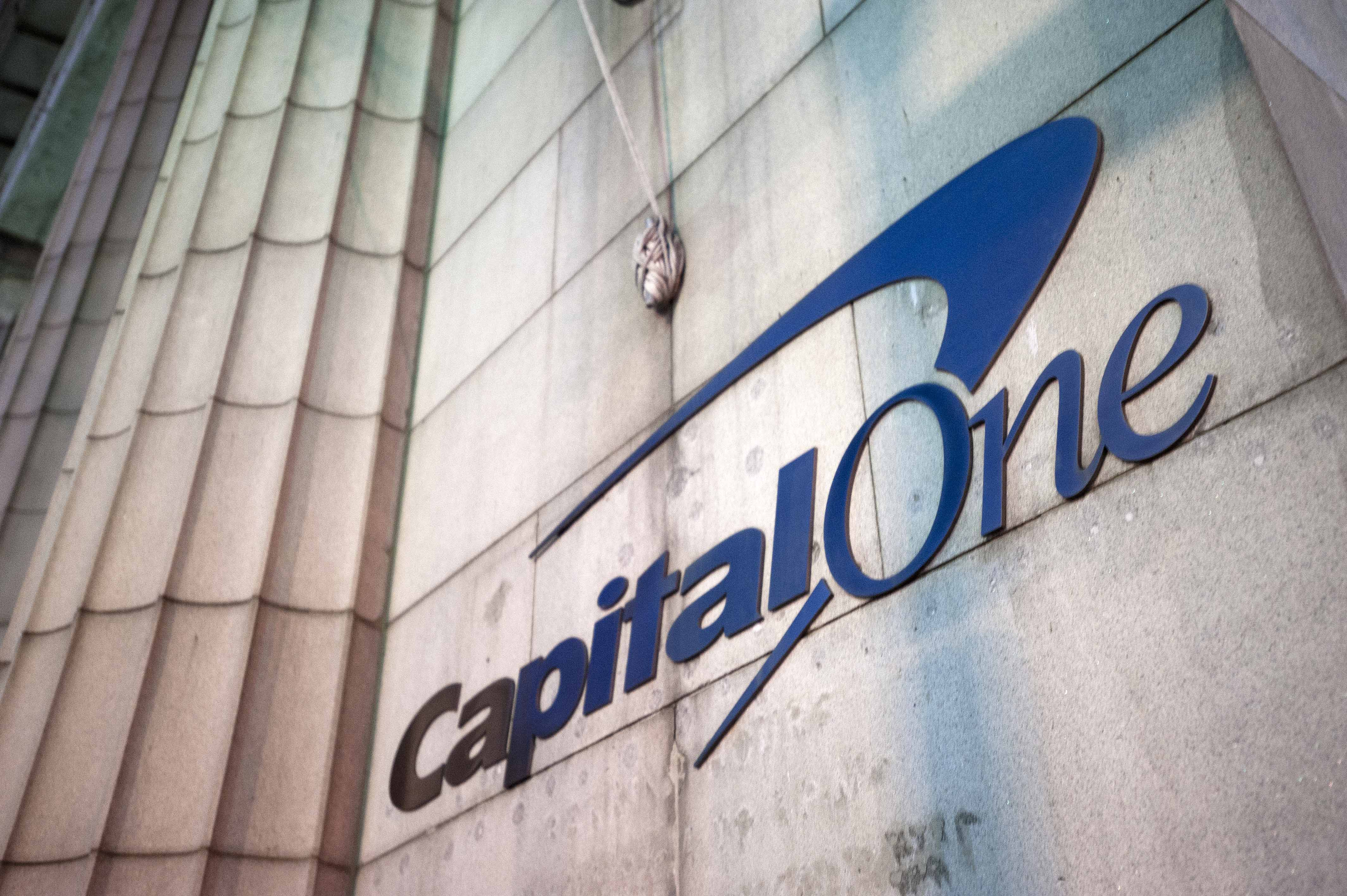 Capital One signage is displayed outside of a bank branch in the Brooklyn