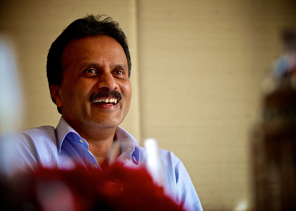 V.G. Siddhartha shown smiling