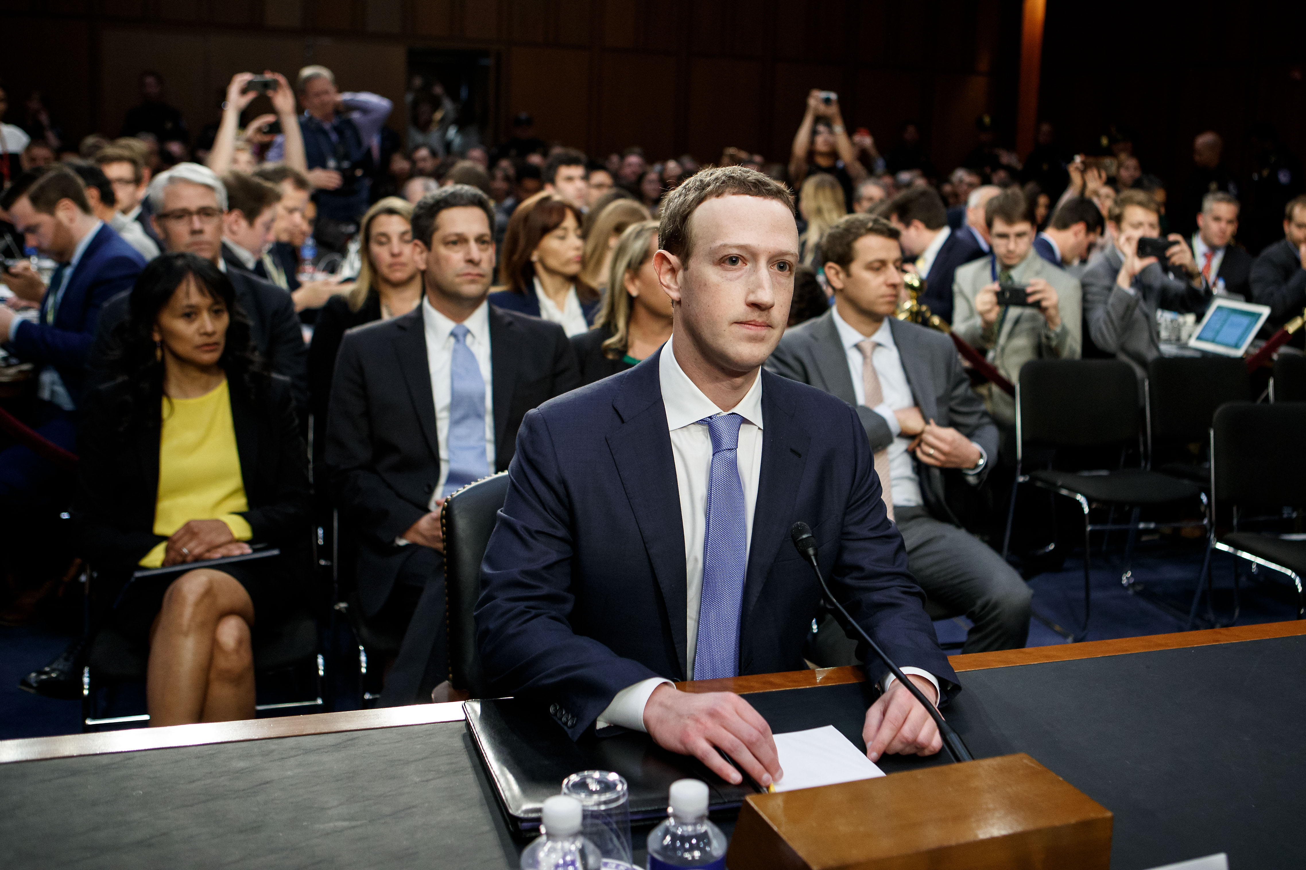 Facebook CEO Mark Zuckerberg at a joint hearing of the Senate Judiciary and Commerce committees in Washington D.C