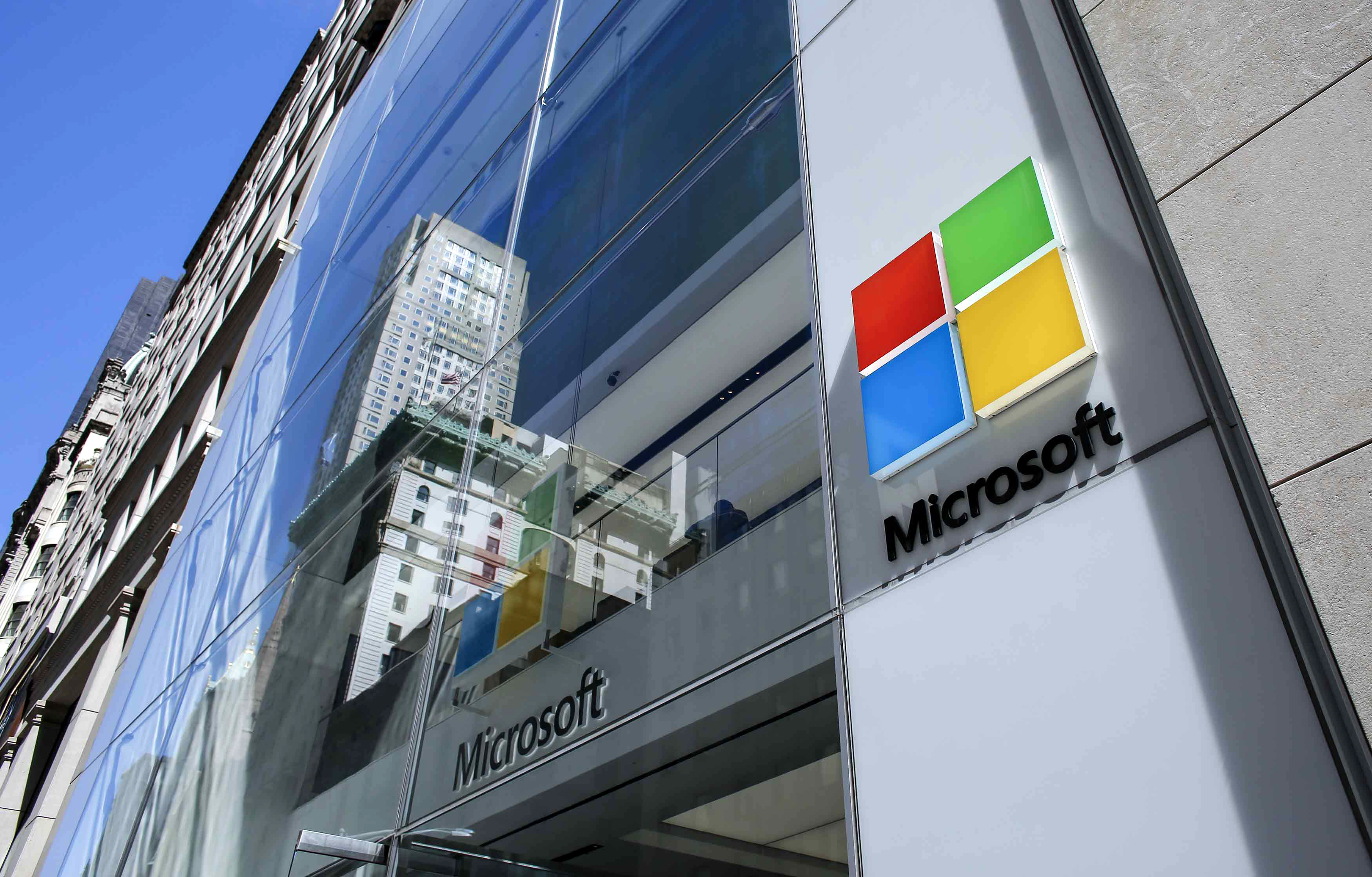 The exterior of a building with the Microsoft logo on it