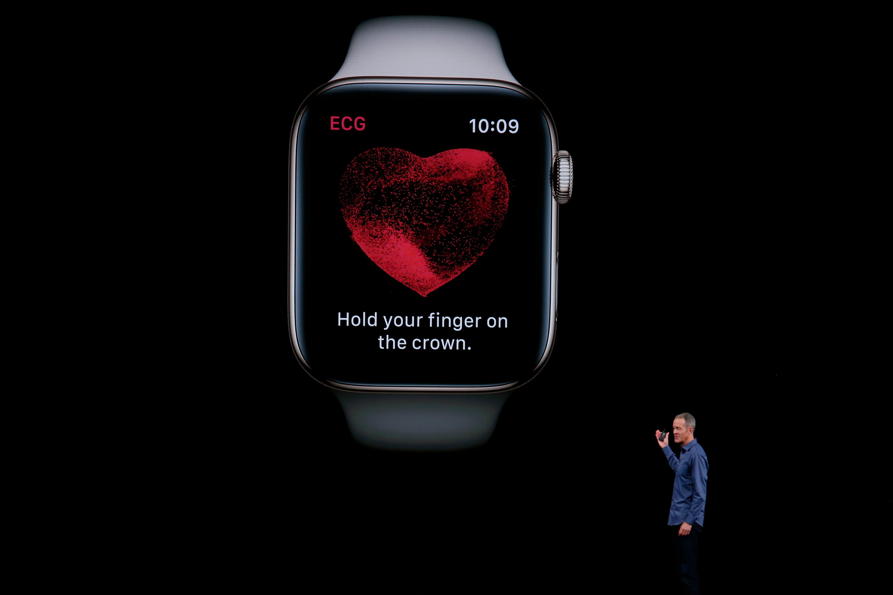 Jeff Williams introduces the new Apple Watch, capable of taking an FDA-approved electrocardiogram, at the company's annual product launch on Wednesday, Sept. 12, 2018, in Cupertino, Calif.
