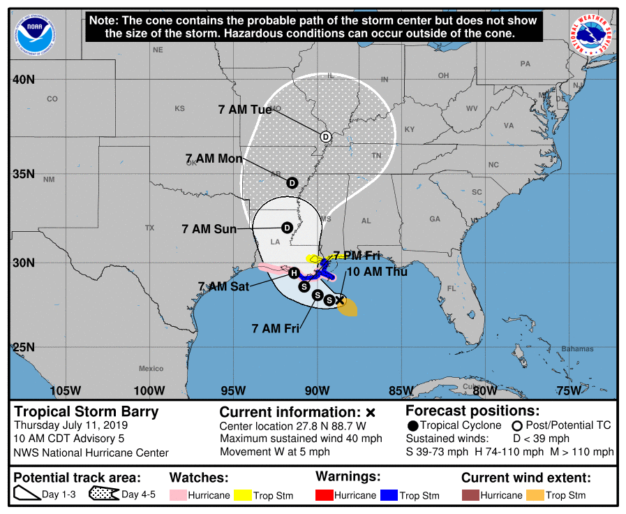 Tropical Storm Barry's path, as predicted at 11am on July 11