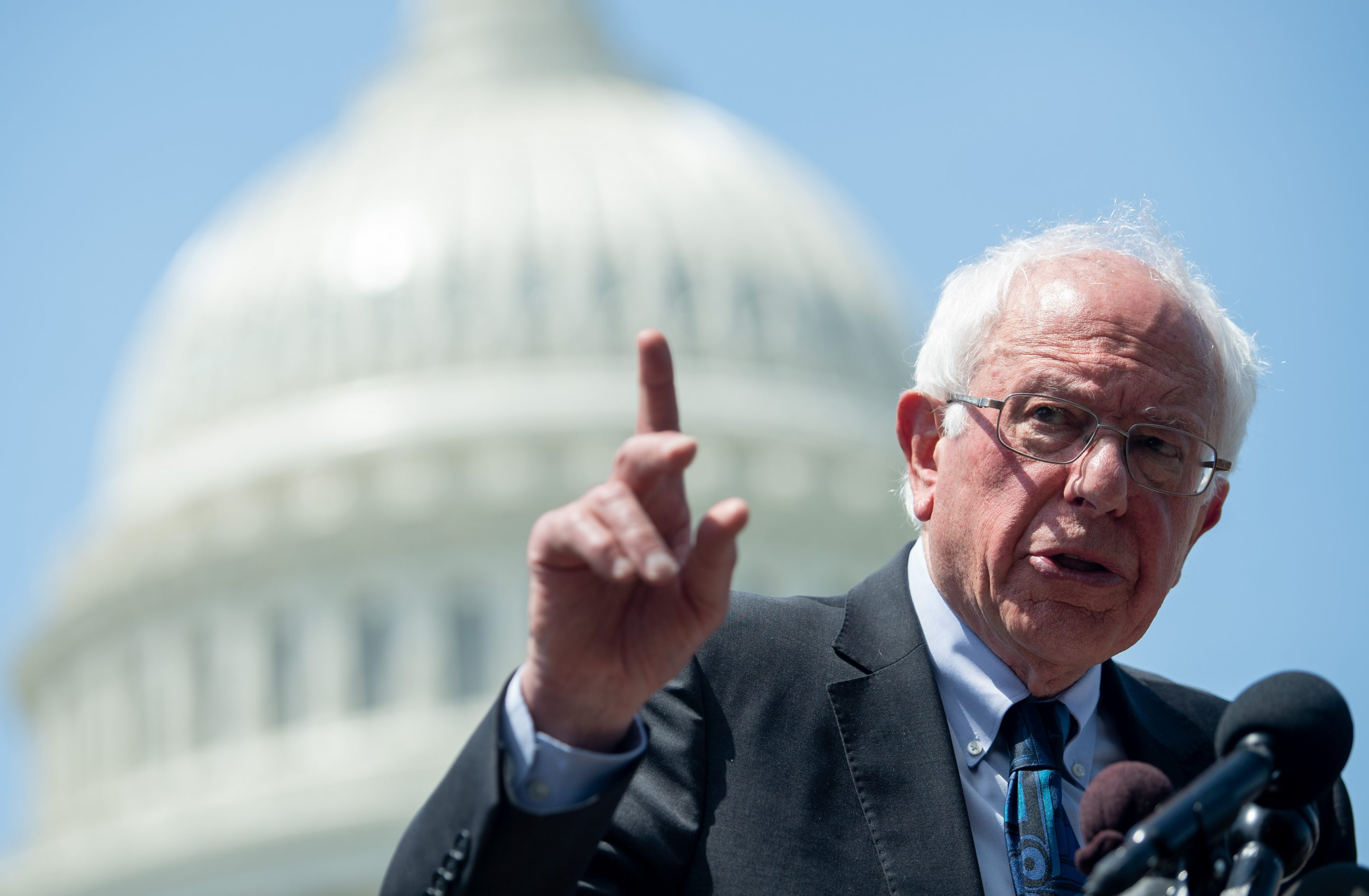 Sen. Bernie Sanders speaks during a press conference outside the U.S. Capitol.