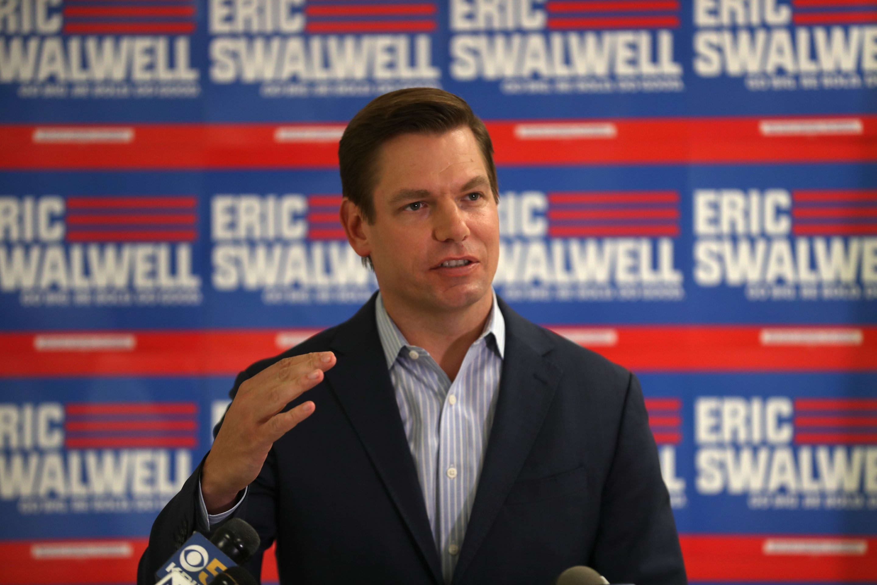 Democratic presidential candidate U.S. Rep. Eric Swalwell (D-CA) speaks during a press conference at his campaign headquarters where he announced that he is dropping out of the presidential race on July 08, 2019 in Dublin, California.