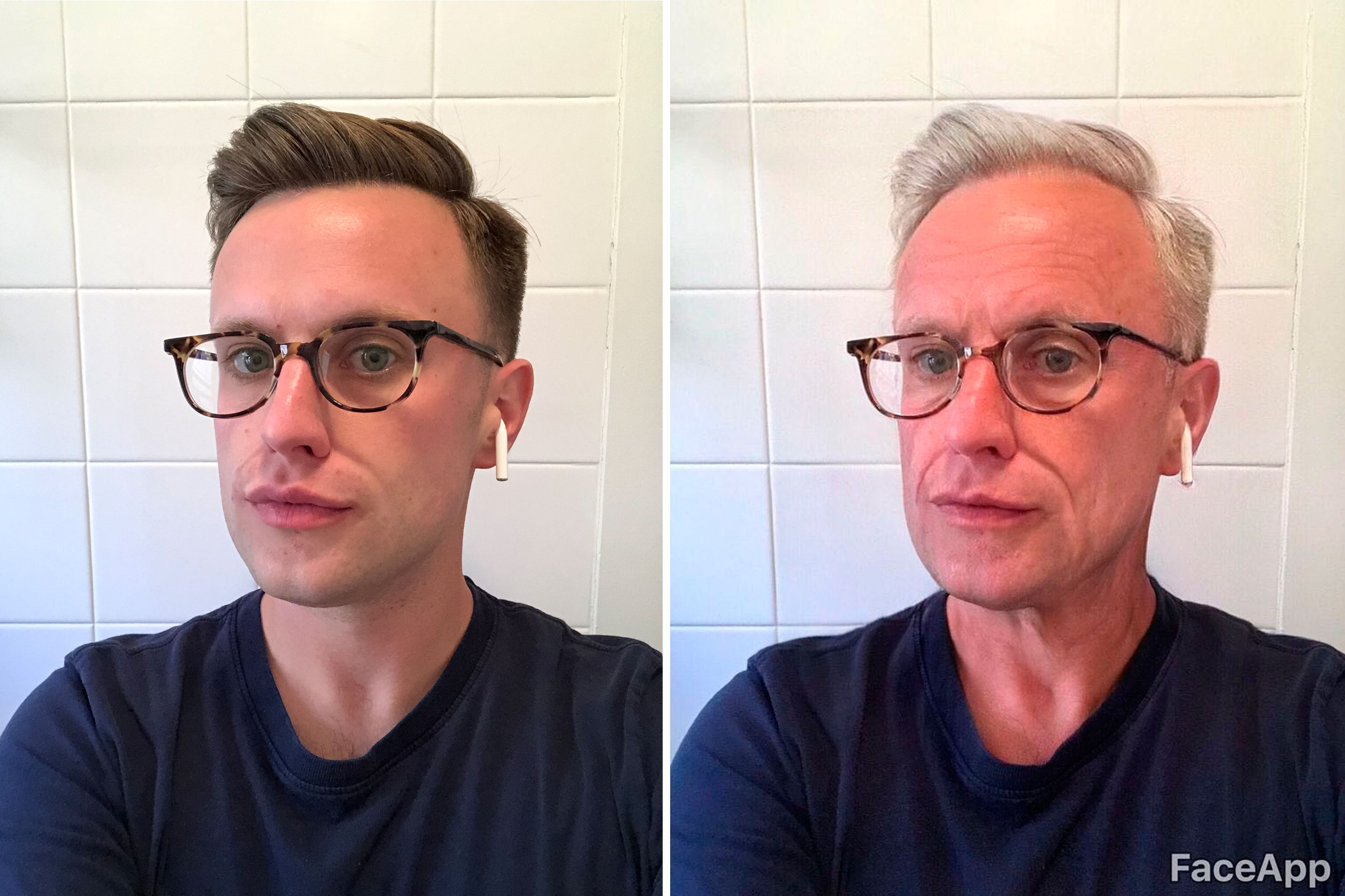 A before and after photo, using FaceApp's old age filter. The aging app has gone viral, but the Russian company's privacy policy is raising questions.