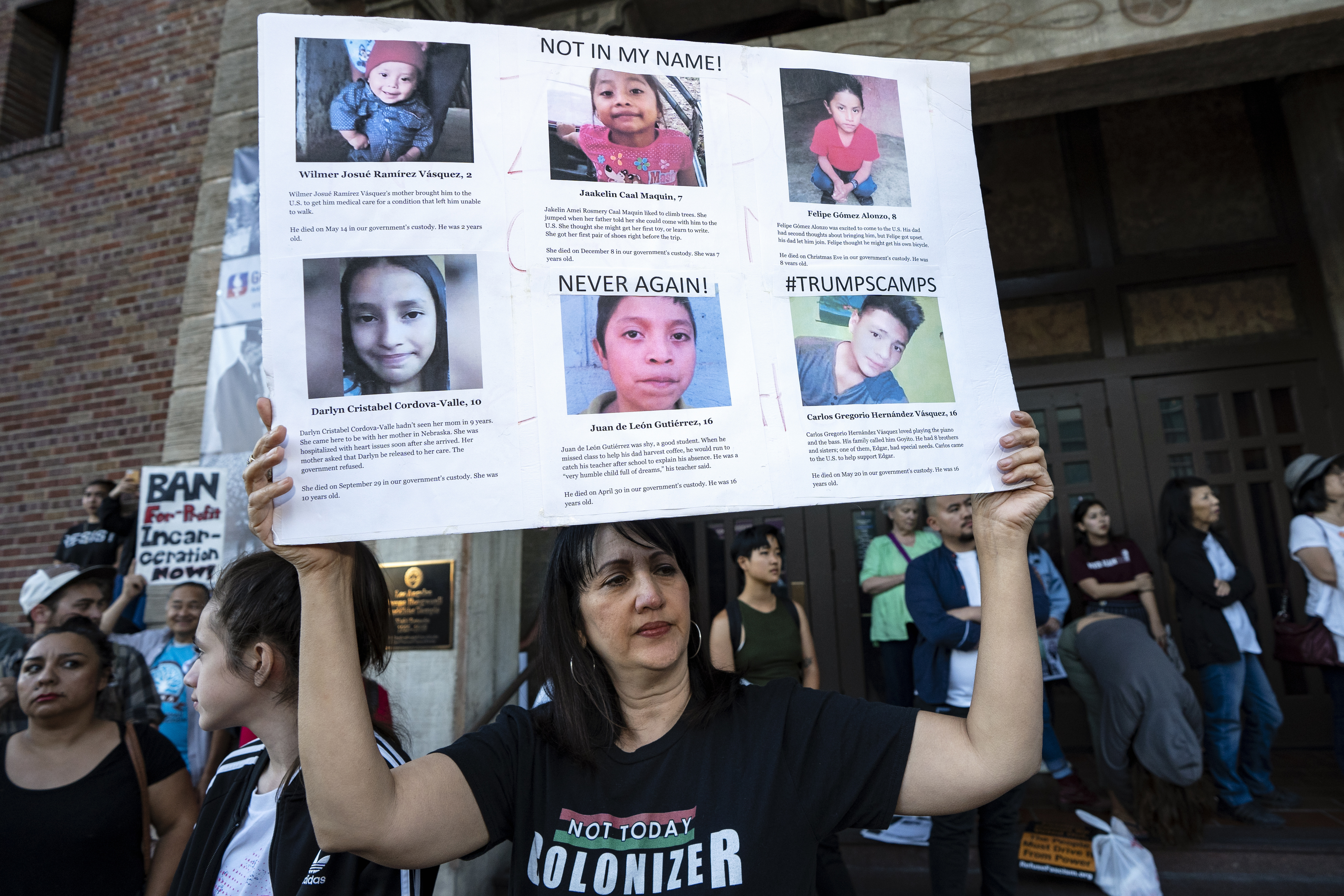 People rally in protest of the Trump Administration's plan to use the Fort Sill Army Base as a detention center for immigrant children and other Immigration Customs Enforcement (ICE) detainees. Los Angeles, California.