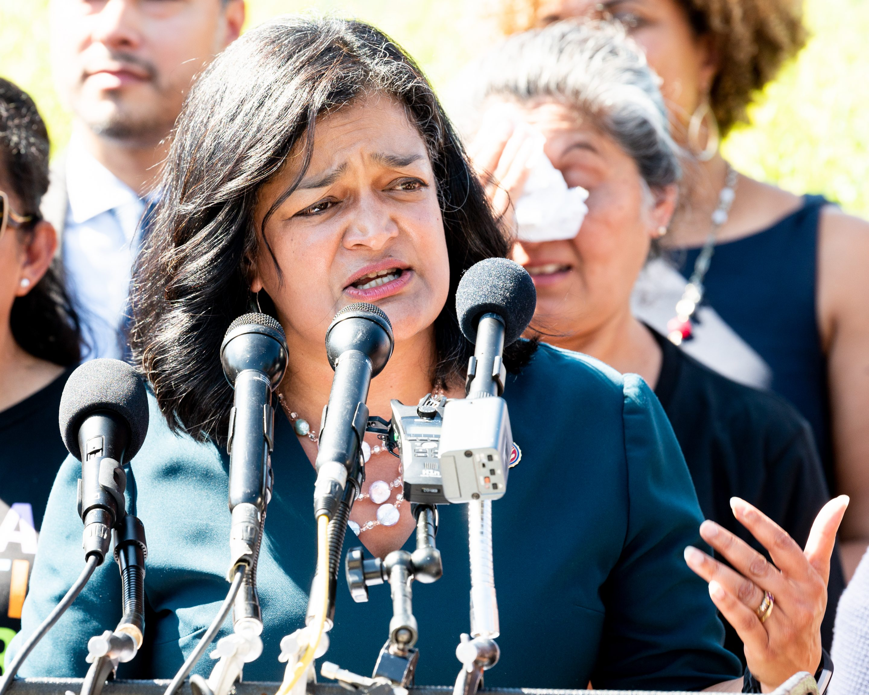 U.S. Representative Pramila Jayapal speaking about the National Domestic Workers Bill of Rights at the Capitol. The bill, which Jayapal introduced jointly with Sen. Kamala Harris, would create a forum to ensure better standards for the industry.