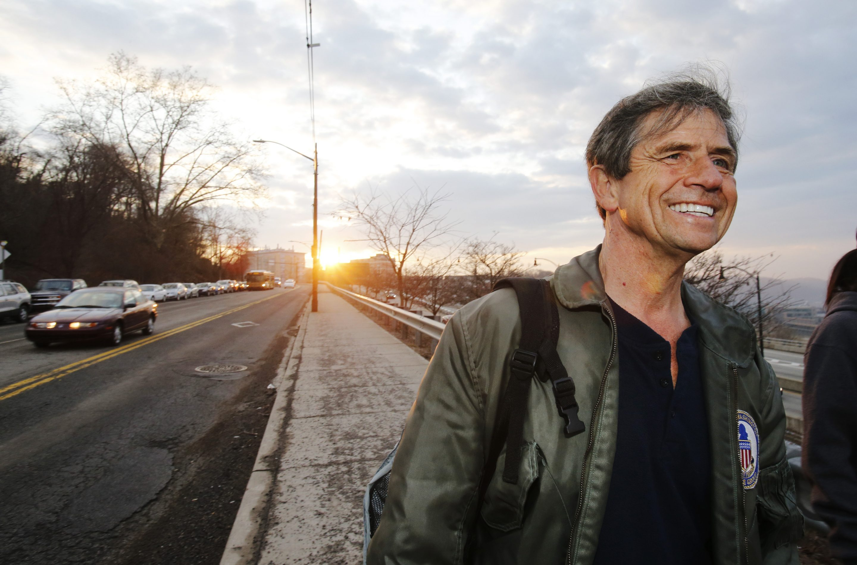 Former Pennsylvania Rep. Joe Sestak smiles on the side of the road in Pittsburgh on March 26, 2015.