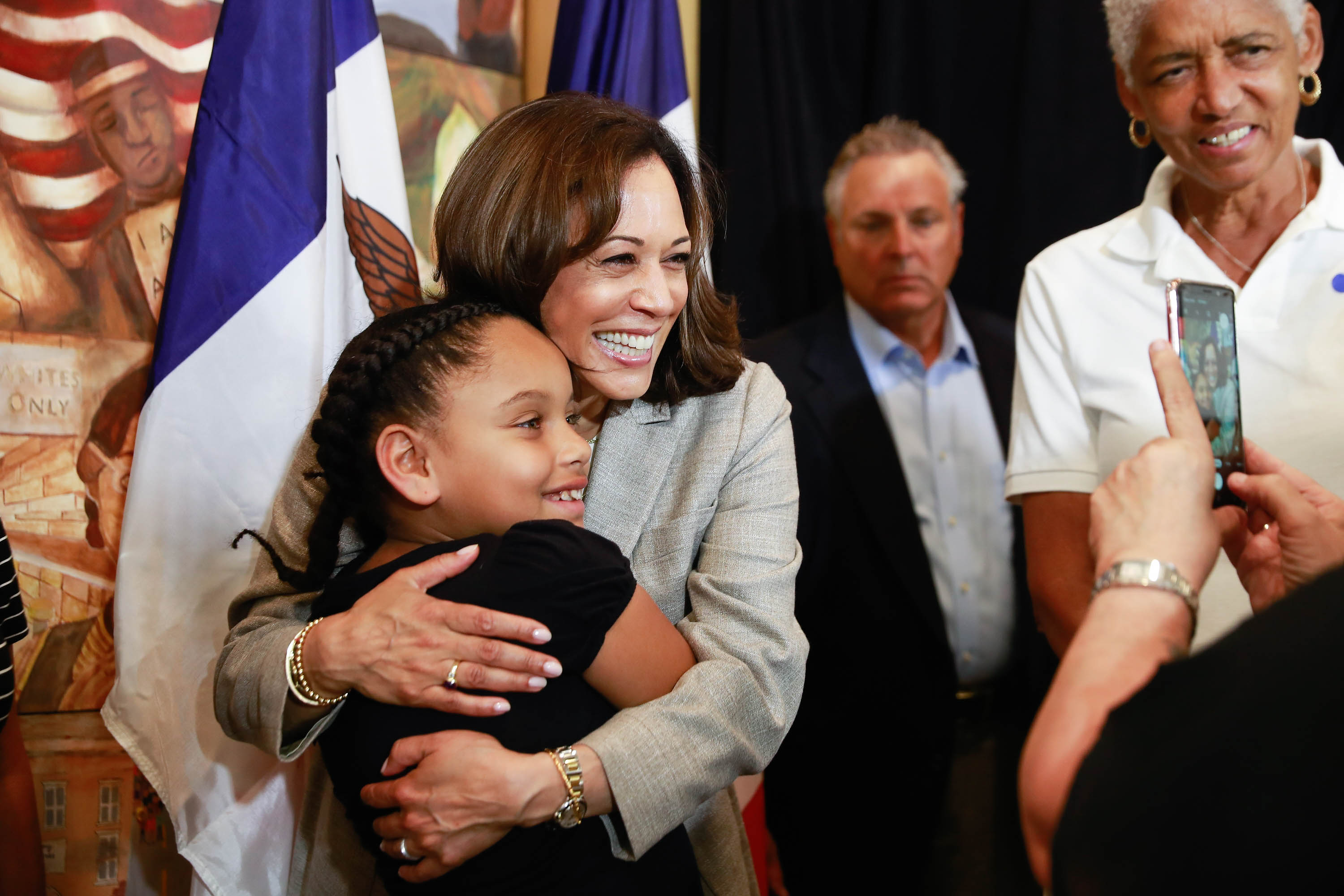 United States Senator from California Kamala Harris hugs