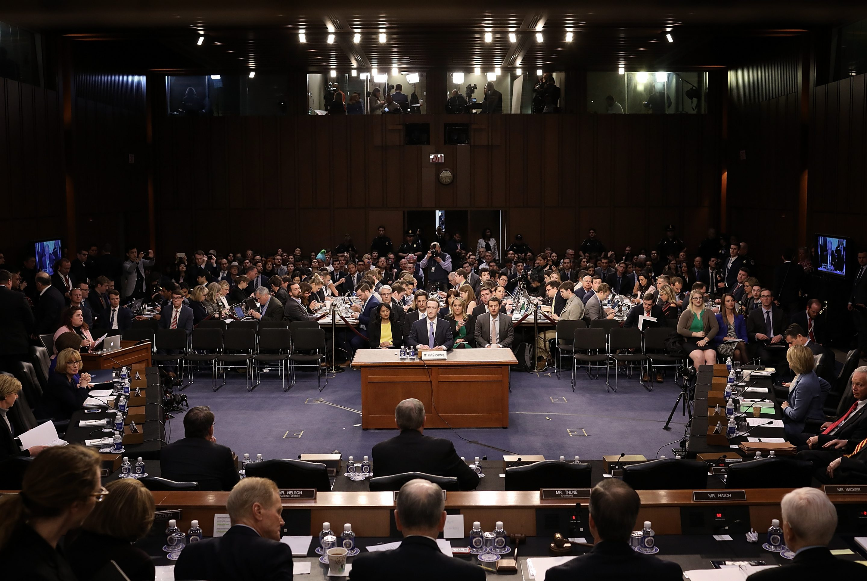 Facebook CEO Mark Zuckerberg testifies before a Senate hearing on April 10, 2018.