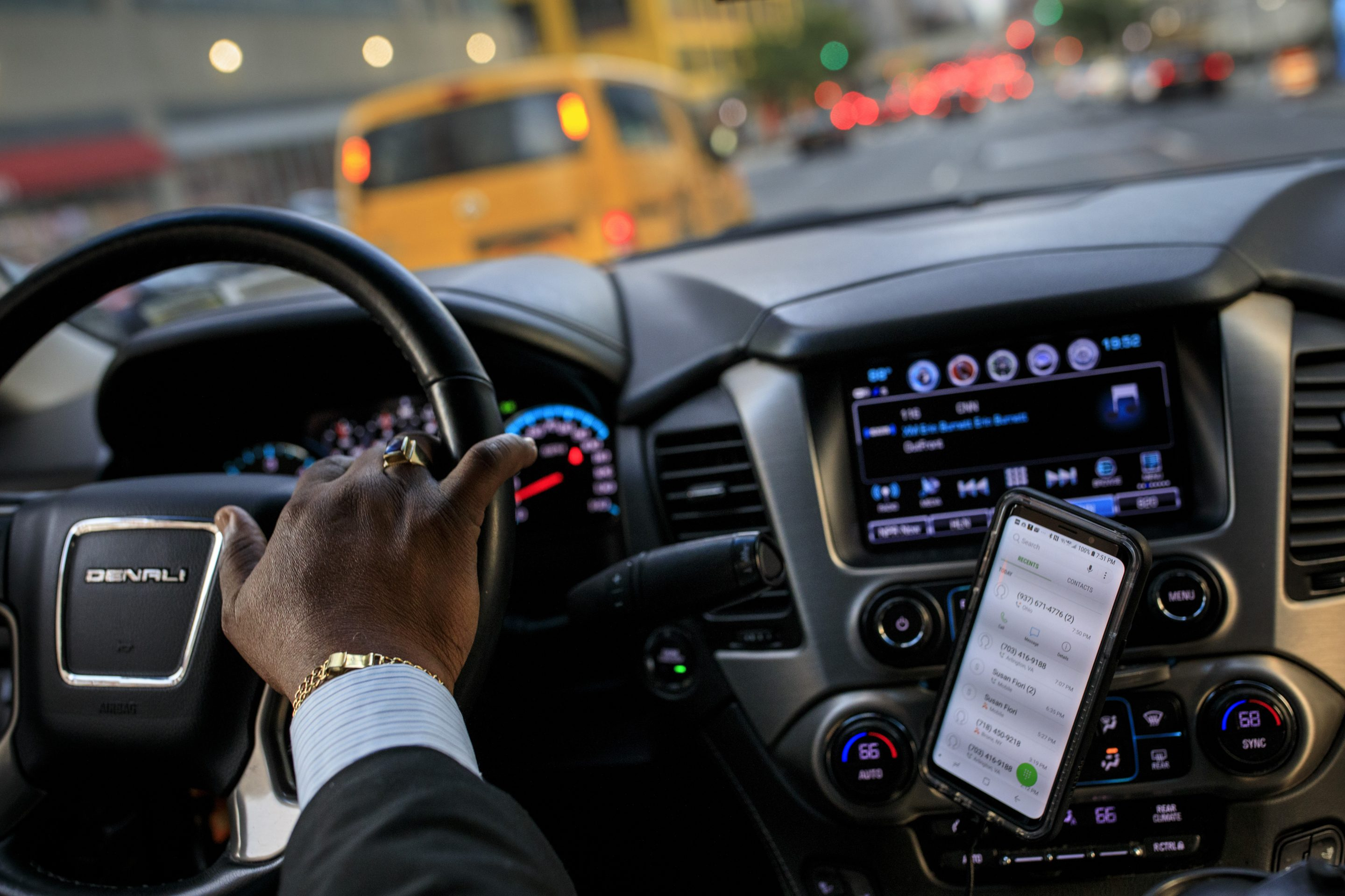 Johan Nijman, a for-hire driver who runs his own service and also drives for Uber on the side, drives through Manhattan on Aug. 8, 2018, in New York City.