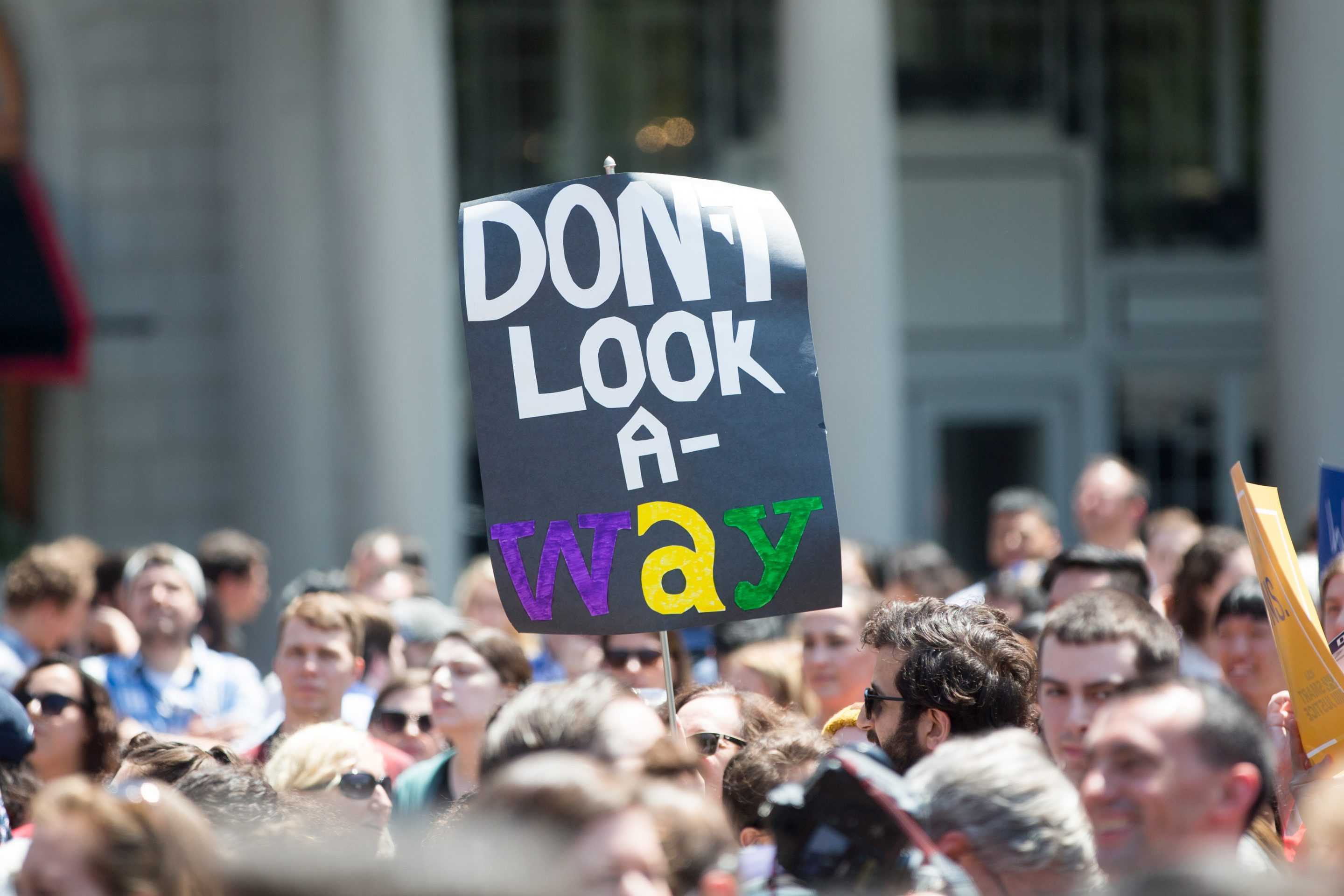 Wayfair employees protesting in Copley Square on June 26, 2019, in Boston.