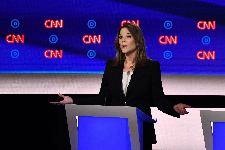 williamson talking at CNN debates