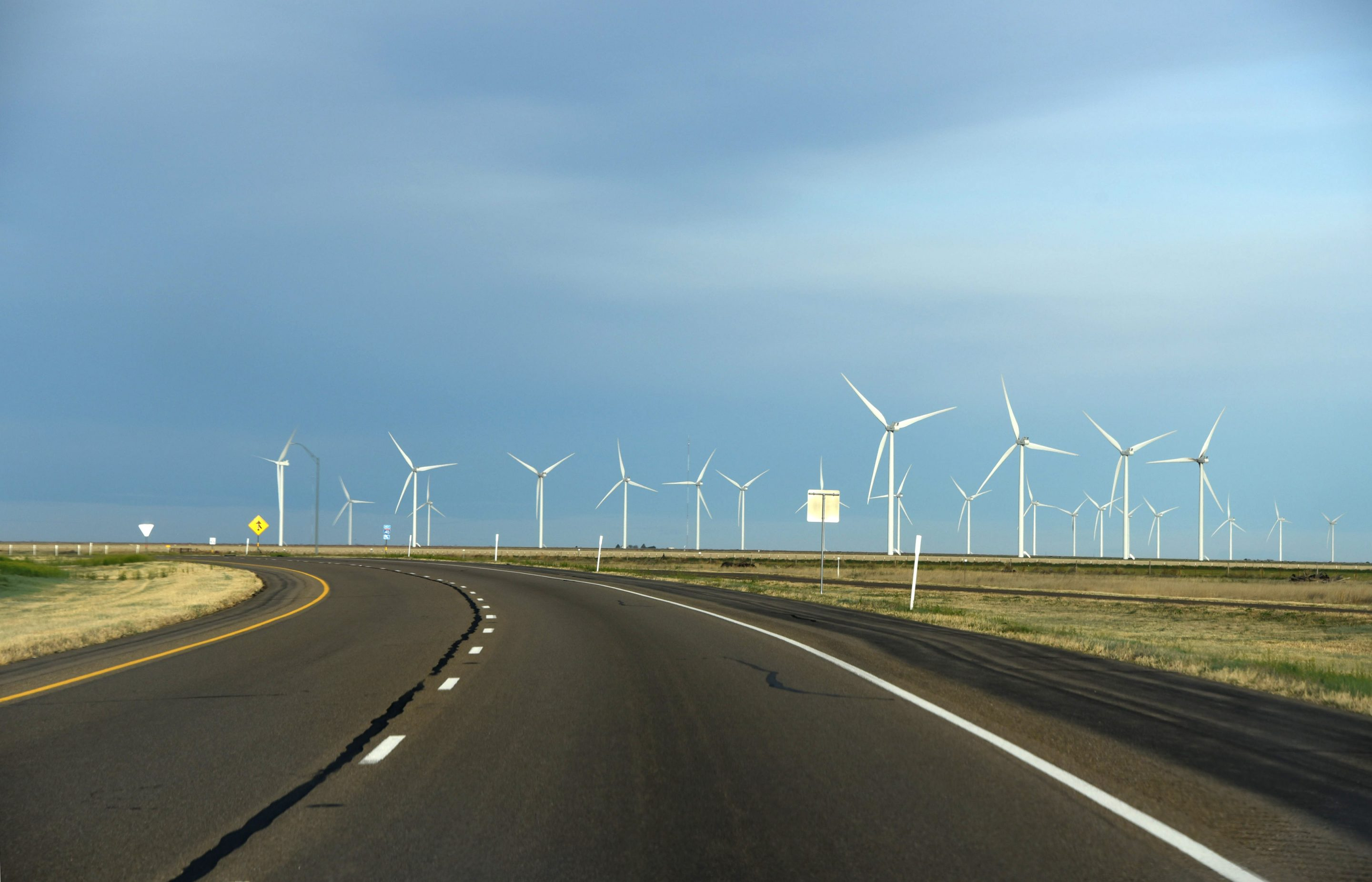 A wind farm off the highway in Adrian, Texas.