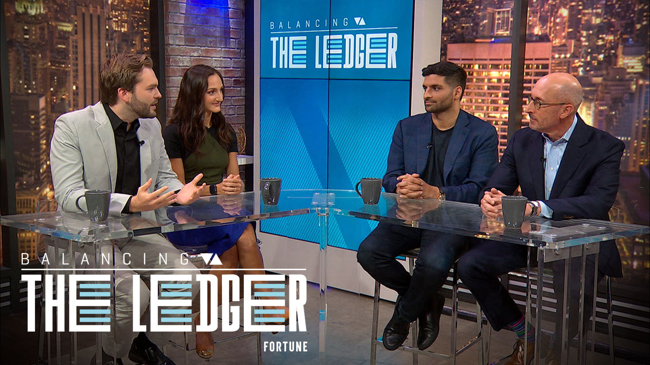 """Tim Mayopoulos (far right), ex-CEO of Fannie Mae and current president of fintech startup Blend, spoke about the impact of a economic recession on the housing market alongside Blend's CEO and cofounder Nima Ghamsari on the latest episode of Fortune's show """"Balancing The Ledger."""""""