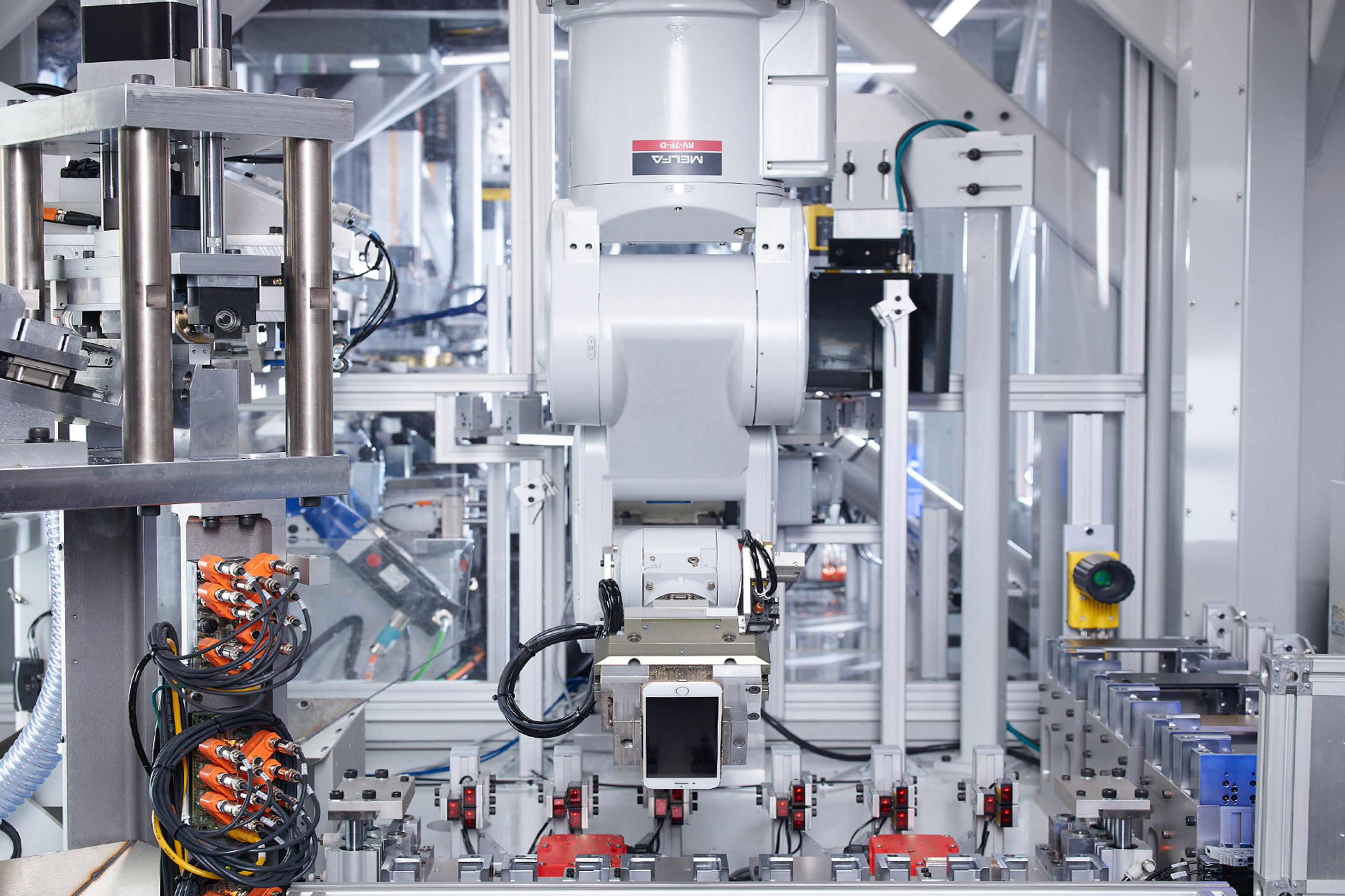 Daisy, Apple's recycling robot, can disassemble used iPhones returned to the company through trade-in programs.