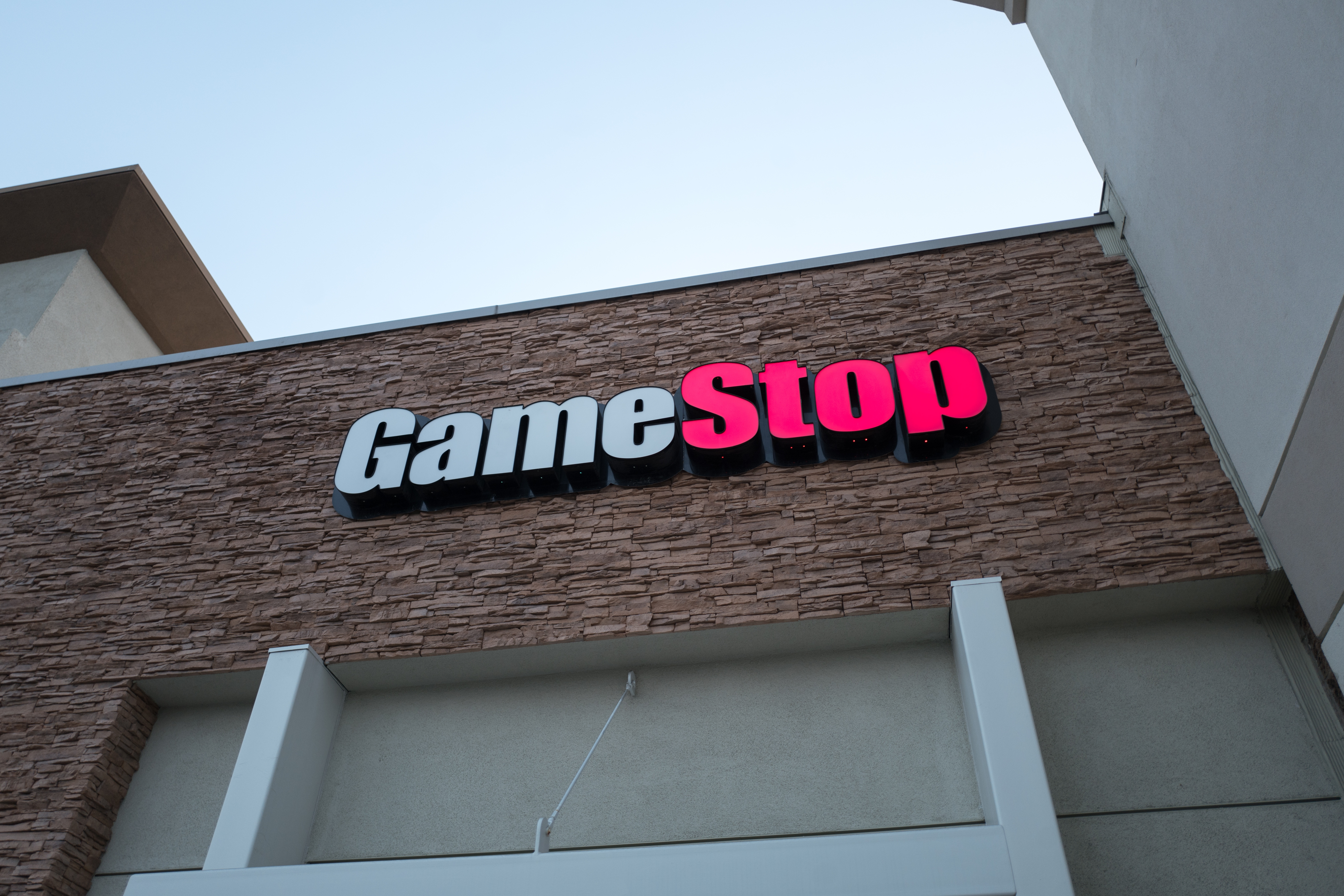 Facade with sign and logo at Game Stop video gaming store in Dublin, California, August 23, 2018.