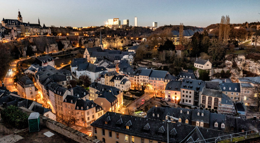 Old town of Luxembourg at night
