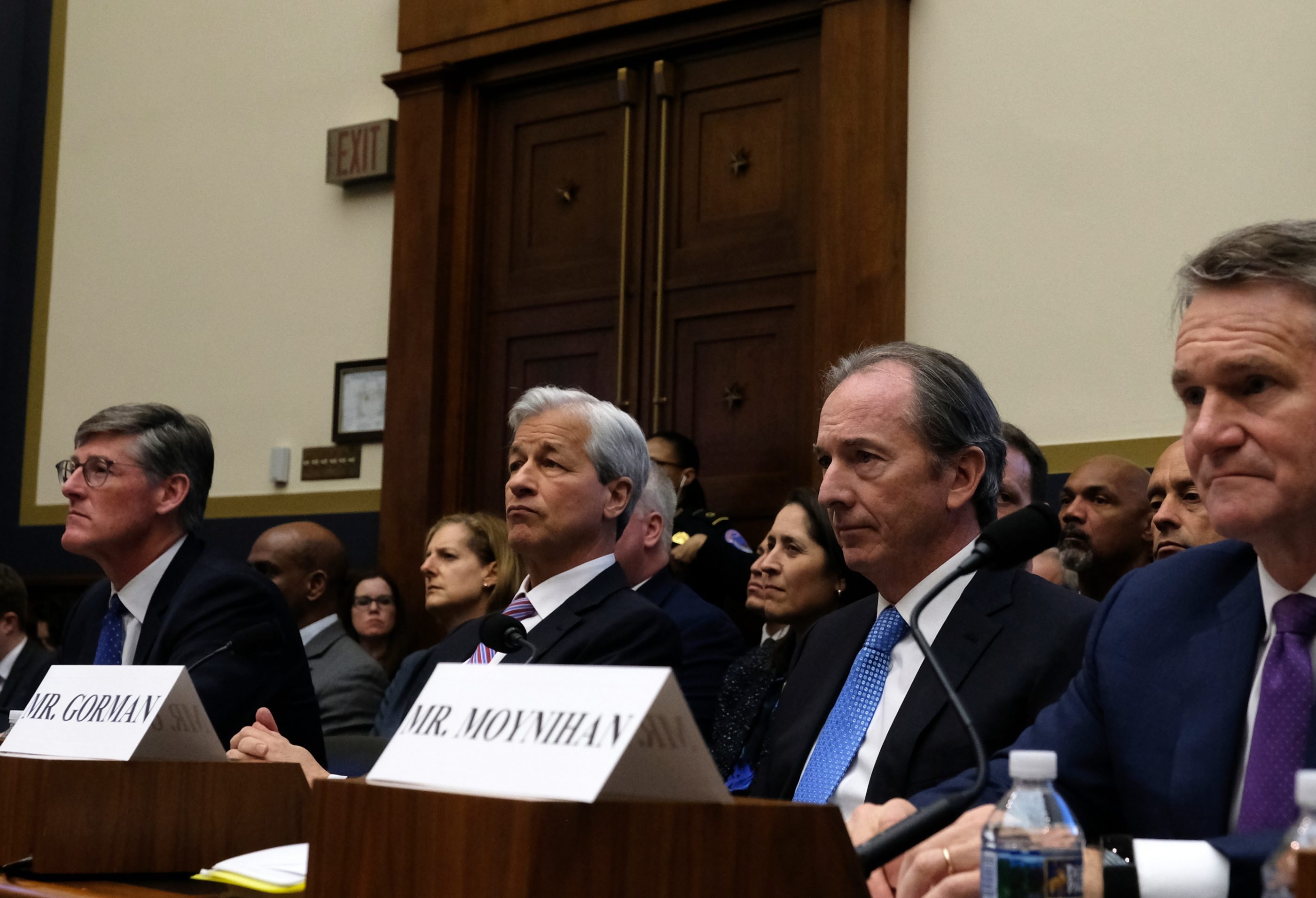 (From left) Citigroup CEO Michael Corbat, JPMorgan Chase CEO Jamie Dimon, Morgan Stanley CEO James Gorman, and Bank of American CEO Brian Moynihan listen during a House Financial Services Committee hearing  on April 10, 2019 in Washington, D.C.