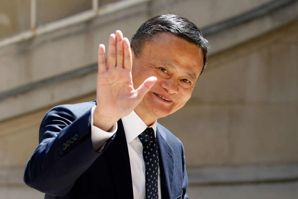 "Chairman of Alibaba Group Jack Ma arrives to attend the ""Tech for Good"" Summit at ""Hotel de Marigny"" on May 15, 2019 in Paris, France. Reports claim that Alibaba has decided to halt an expected listing in Hong Kong."