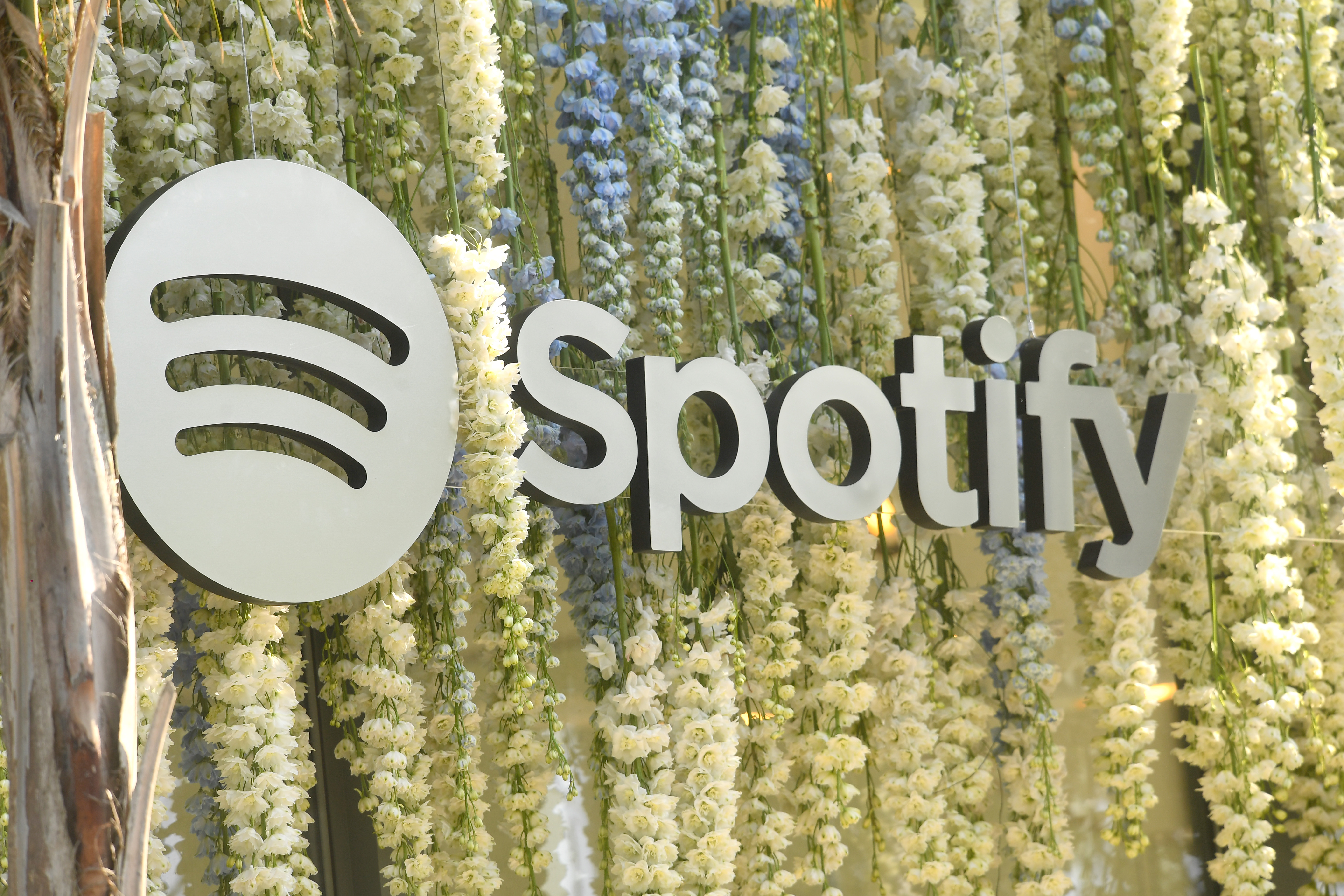 Silver spotify logo hangs among flowers