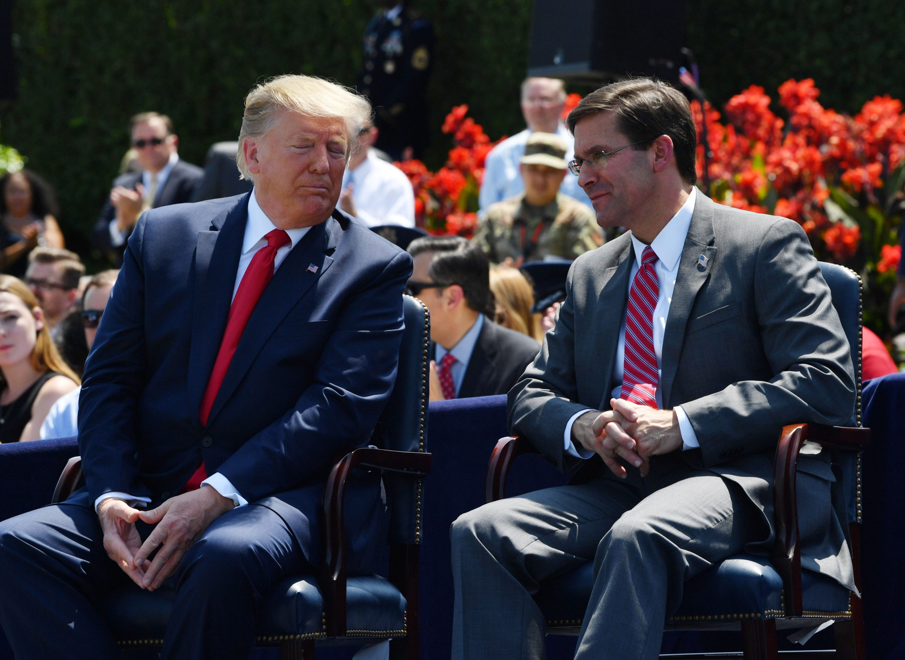 Donald Trump and Mark Esper