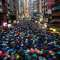 Hong Kong protesters march in the rain on Aug. 19