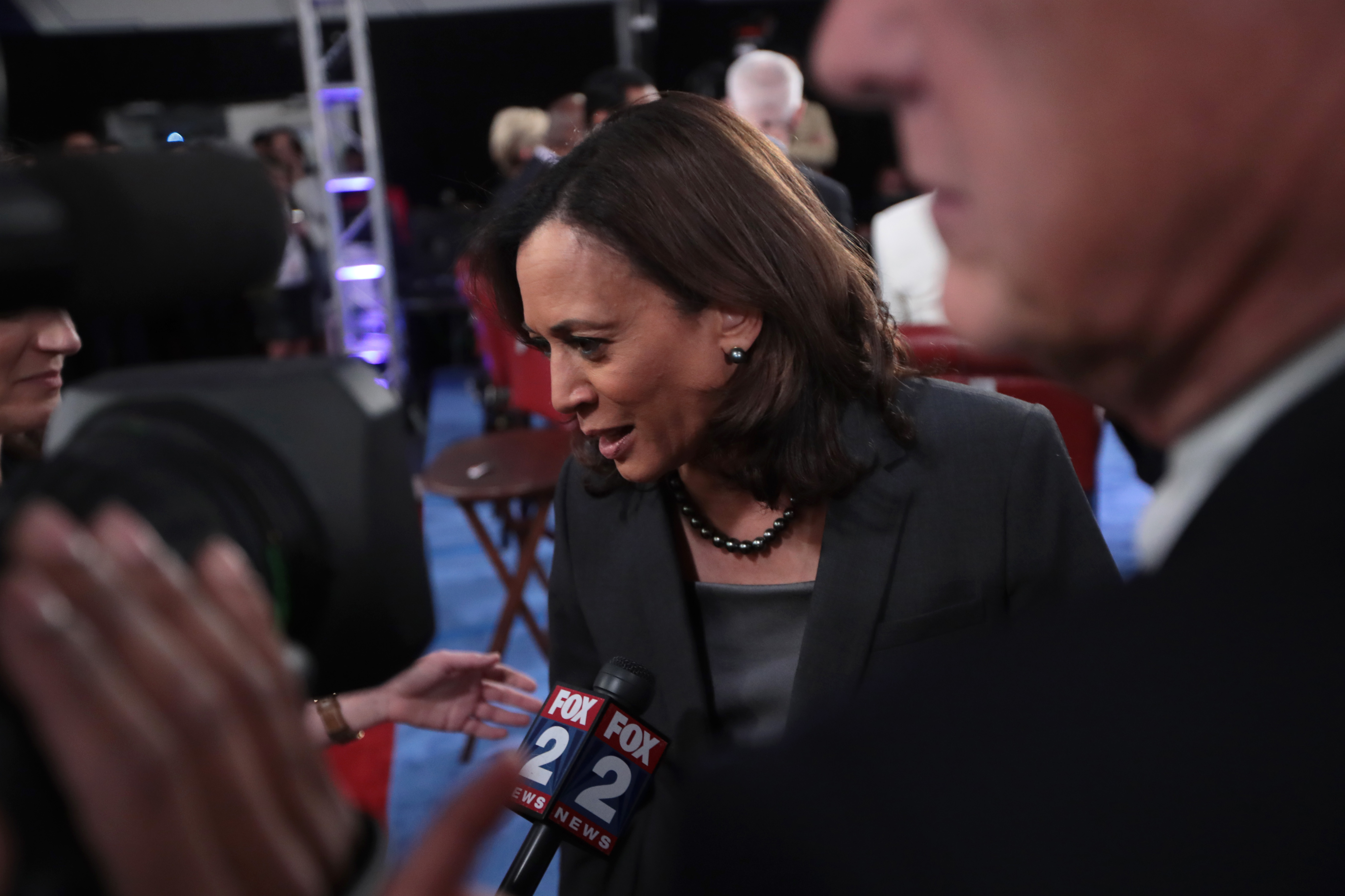 DETROIT, MICHIGAN - JULY 31:  Democratic presidential candidate Sen. Kamala Harris (D-CA) speaks during a television interview in the spin room after the Democratic Presidential Debate at the Fox Theatre July 31, 2019 in Detroit, Michigan. 20 Democratic presidential candidates were split into two groups of 10 to take part in the debate sponsored by CNN held over two nights at Detroit's Fox Theatre.  (Photo by Scott Olson/Getty Images)