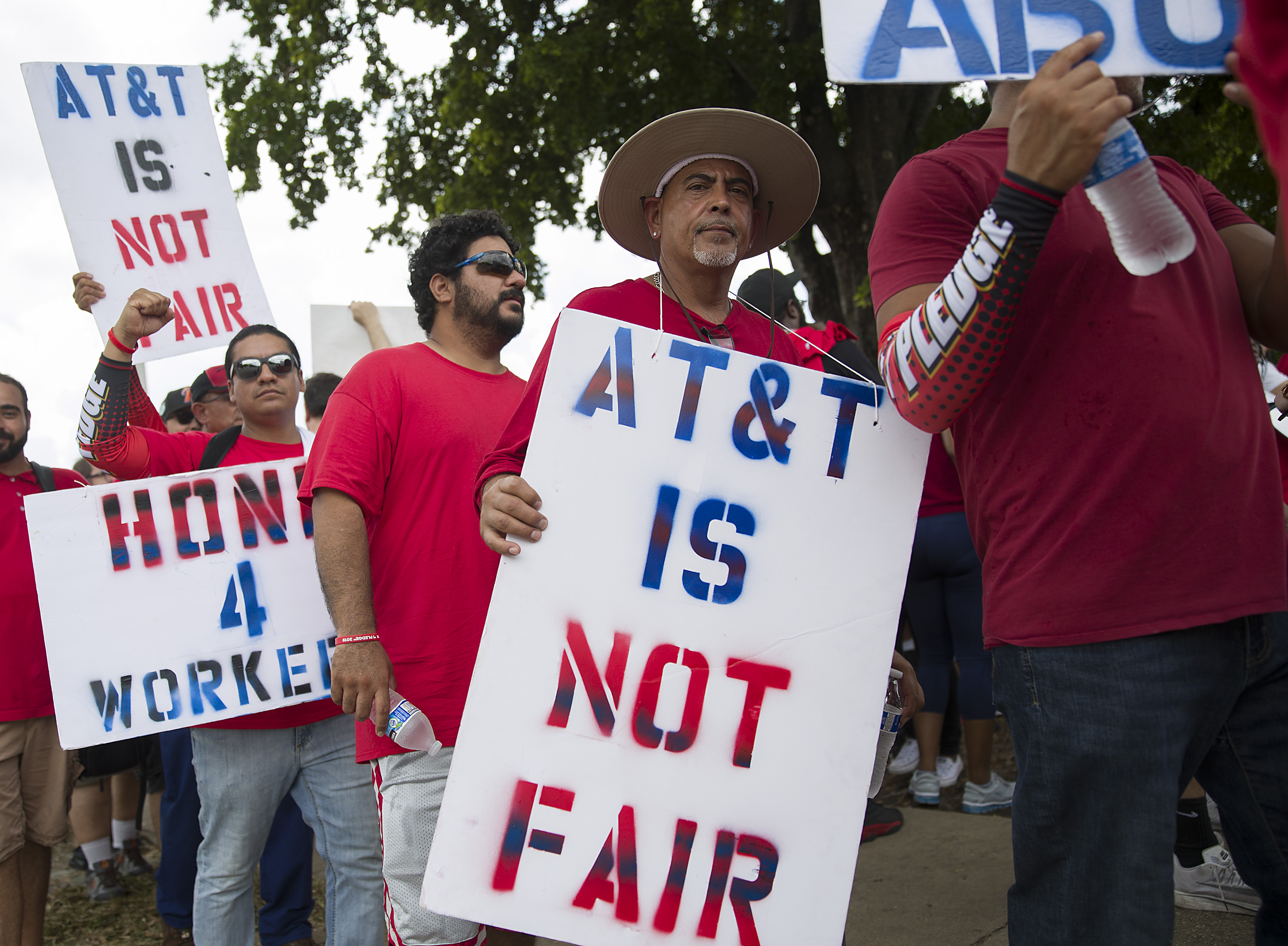 AT&T workers on strike in nine states